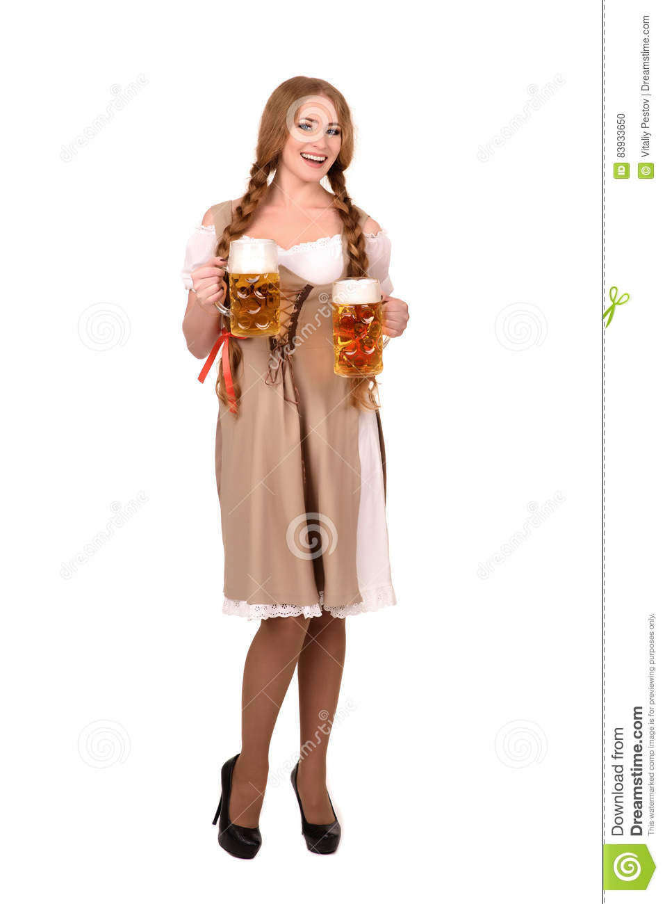9736cf0acacd Portrait of a Happy Woman Wearing a Traditional Oktoberfest Costume with  Two Beer Glasses and Holding a Sign. Isolated on White Background
