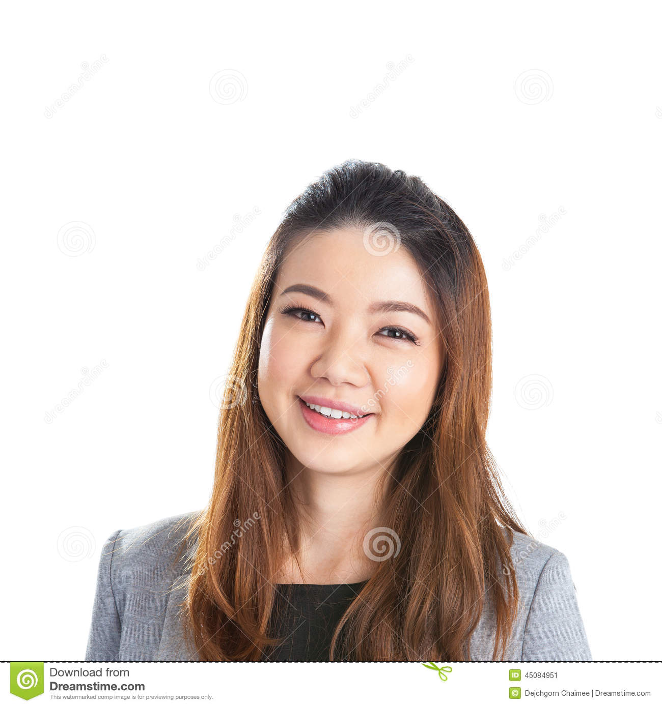 Portrait of happy young business woman isolated