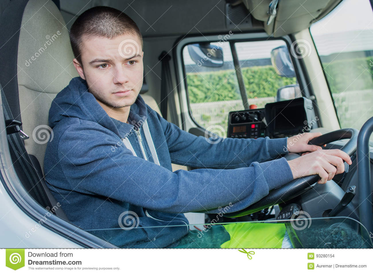 Download Portrait Happy Young Garbage Truck Driver Stock Photo - Image of uniform, person: 93280154
