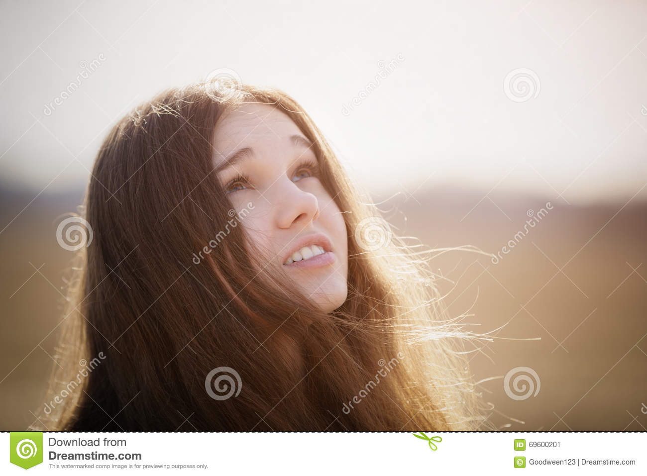 Portrait Of Happy Young Girl Looking To The Sky On Spring Field Stock Image Image Of Lovely Look 69600201