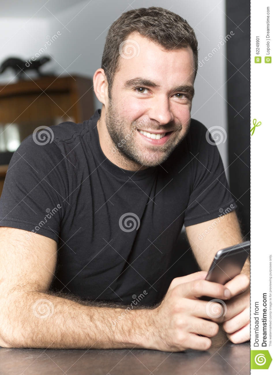 Portrait Of Happy Young Man At Home Stock Photo - Image ...