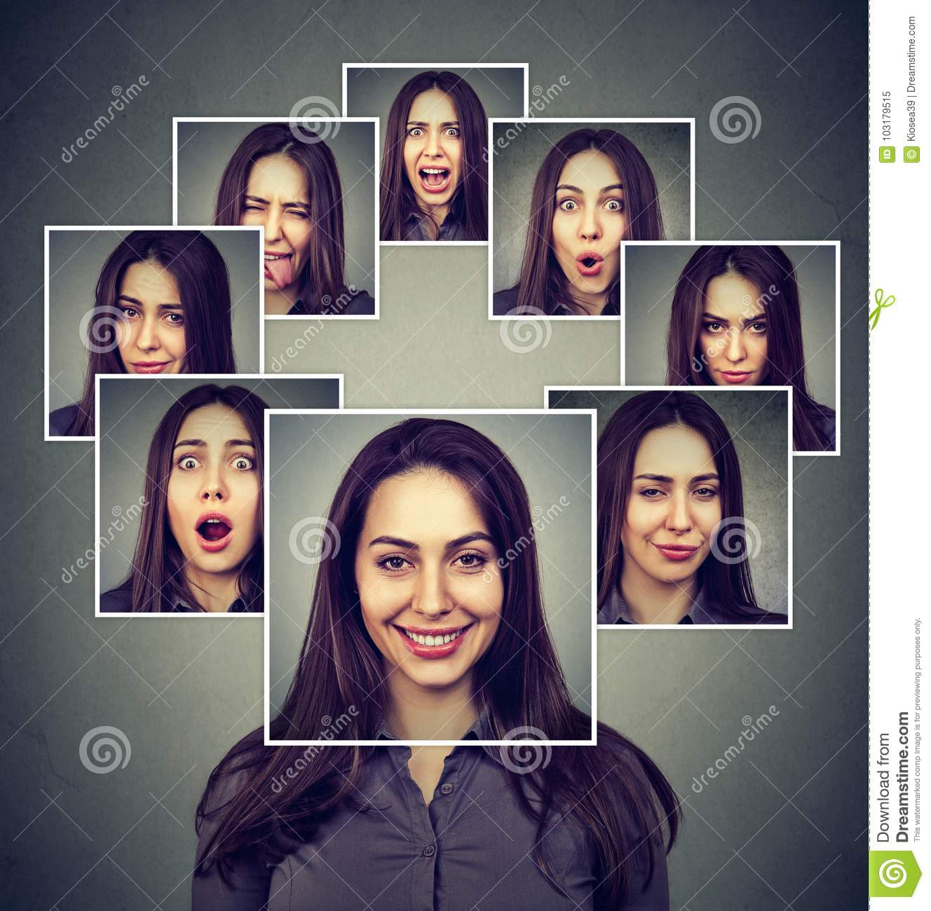 Happy masked woman expressing different emotions