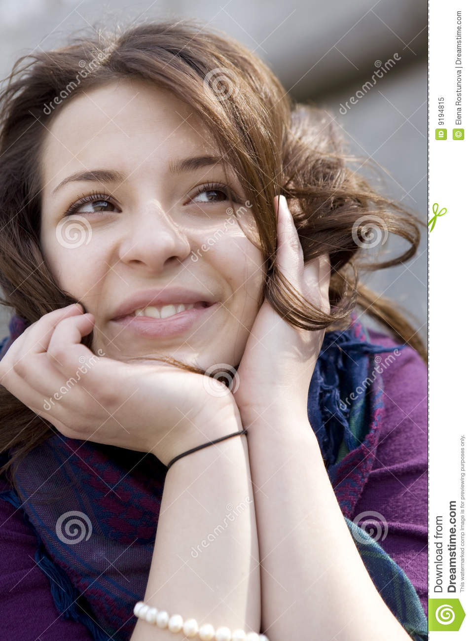Happy Teen By Crumbling Wall Stock Image: Portrait Happy Young Smiling Girl Royalty Free Stock Photo