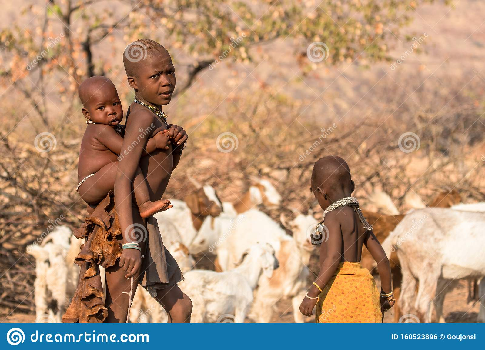 Portrait of a Himba girl looking after the goat herd carrying a baby on her back, Epupa falls, Namibia