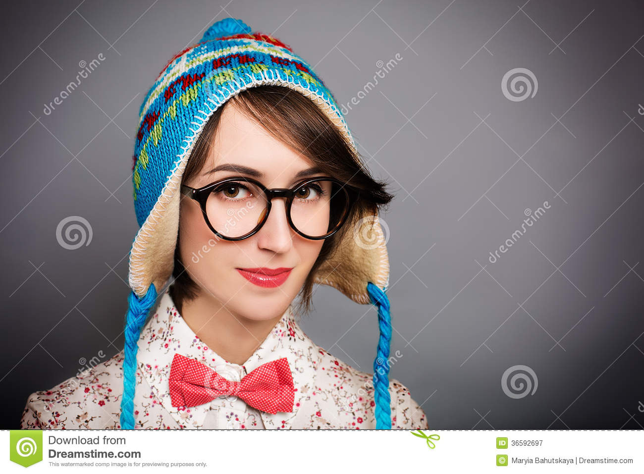 Portrait Of Hipster Girl In Funny Winter Hat Stock Image ...