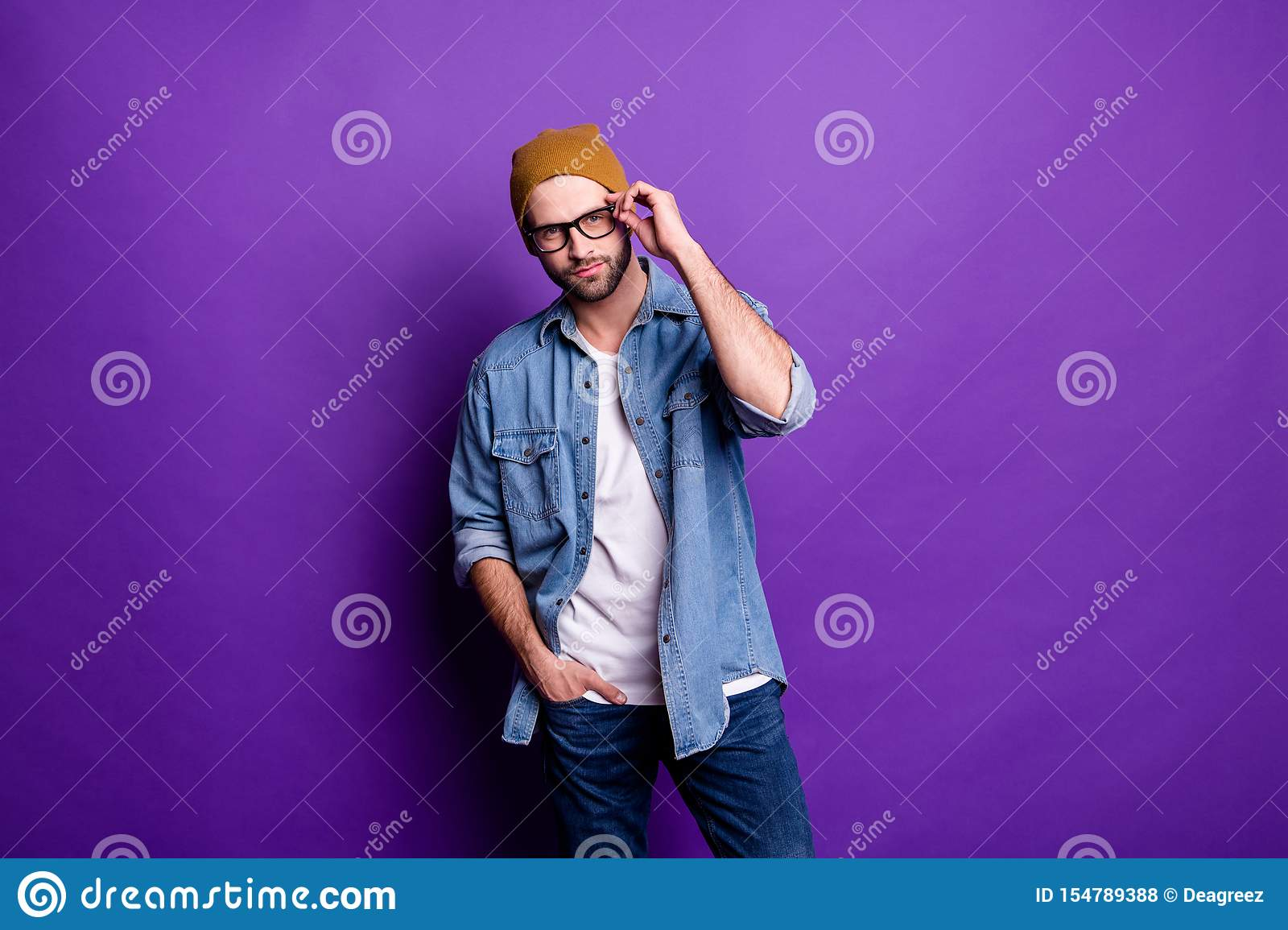 Portrait of his he nice attractive content virile brutal masculine cool bearded guy posing modern lifestyle isolated