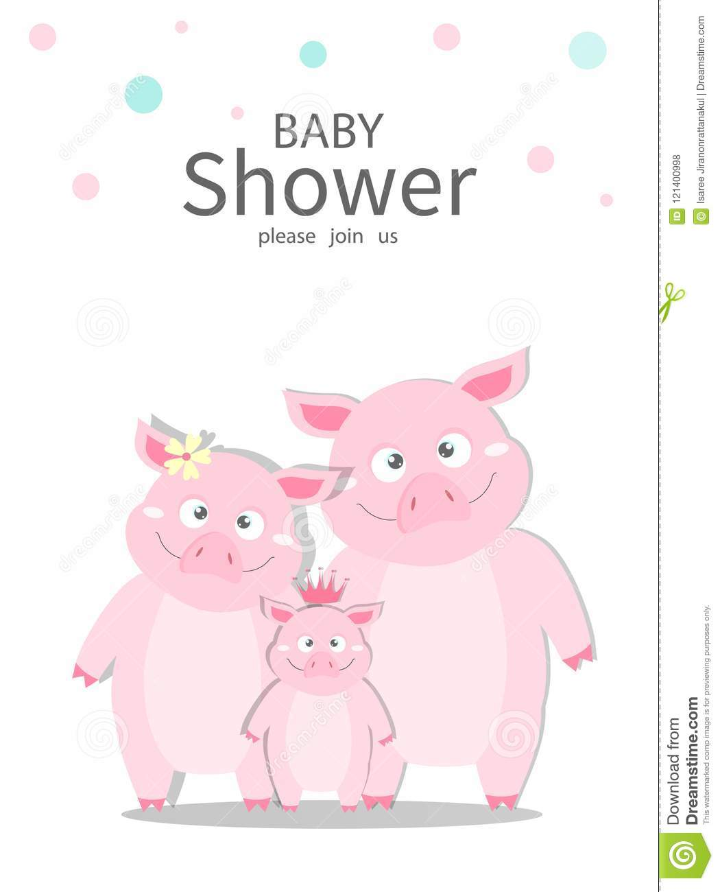 portrait hog family on baby shower invitations cards poster