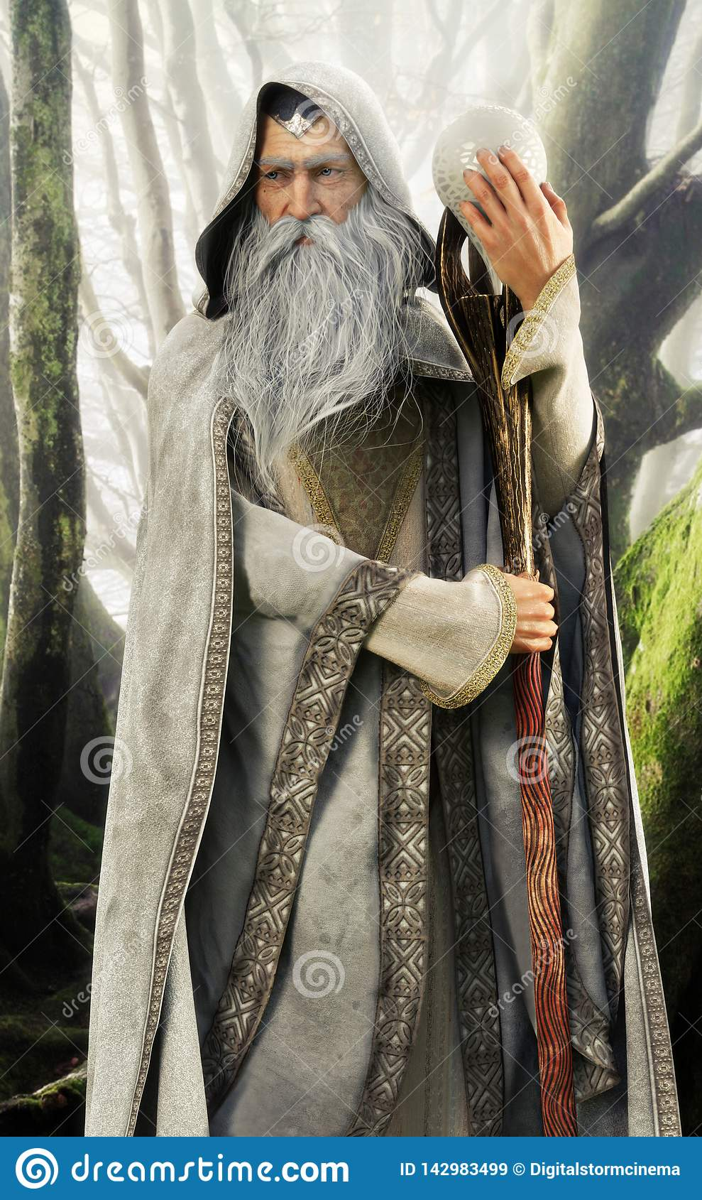 Portrait of a hooded grey cloaked wizard holding his magical staff in an enchanted forest .