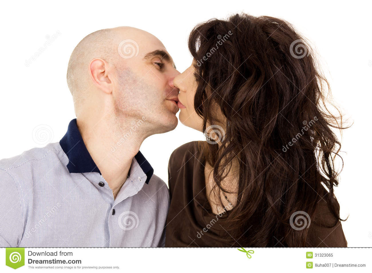 Royalty Free Stock Photo  Portrait of a husband and wife kiss isolatedPortrait Of A Husband And Wife