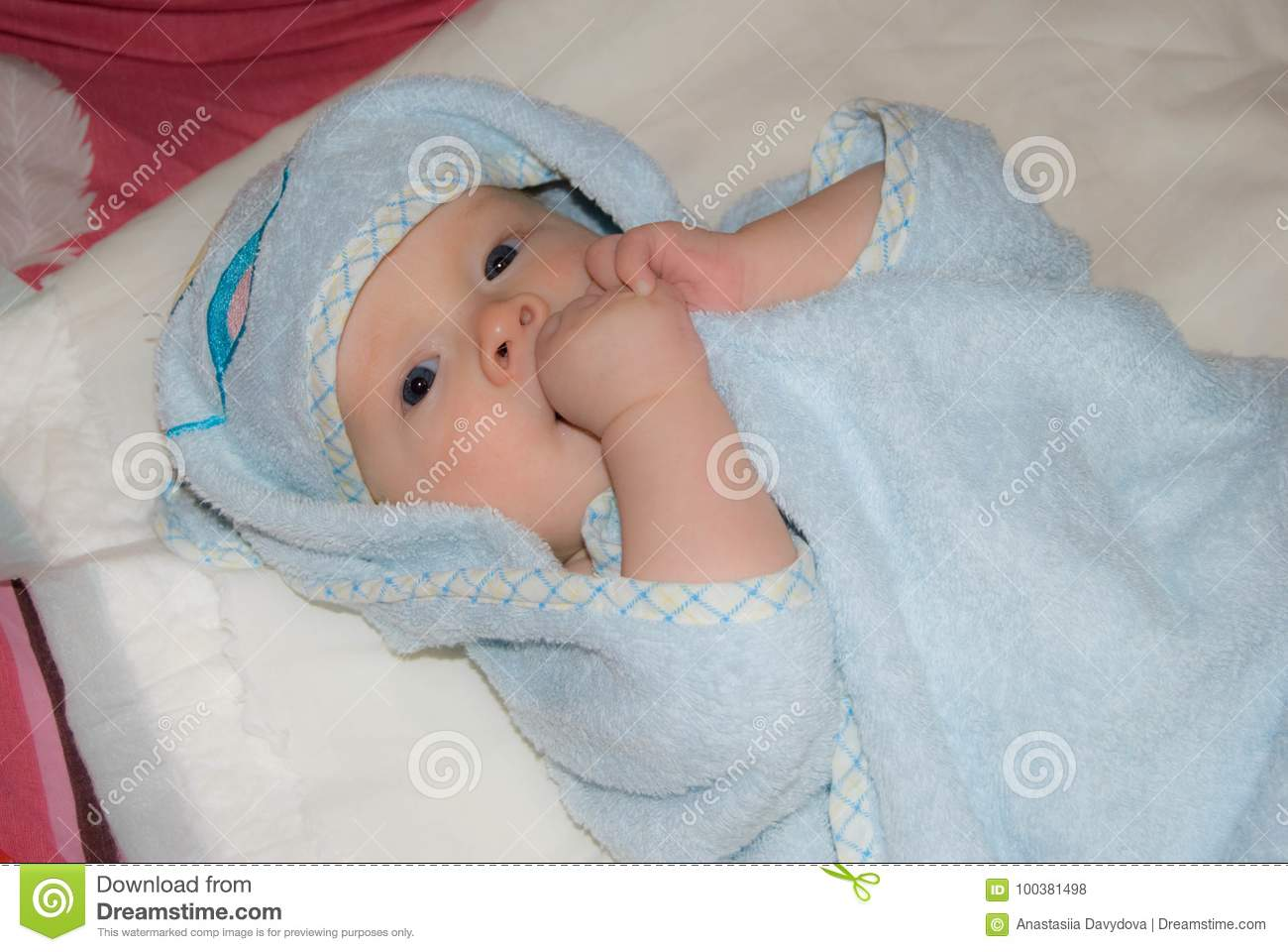 Newborn Baby Boy After Bath In A Blue Terry Towel Stock Photo ...