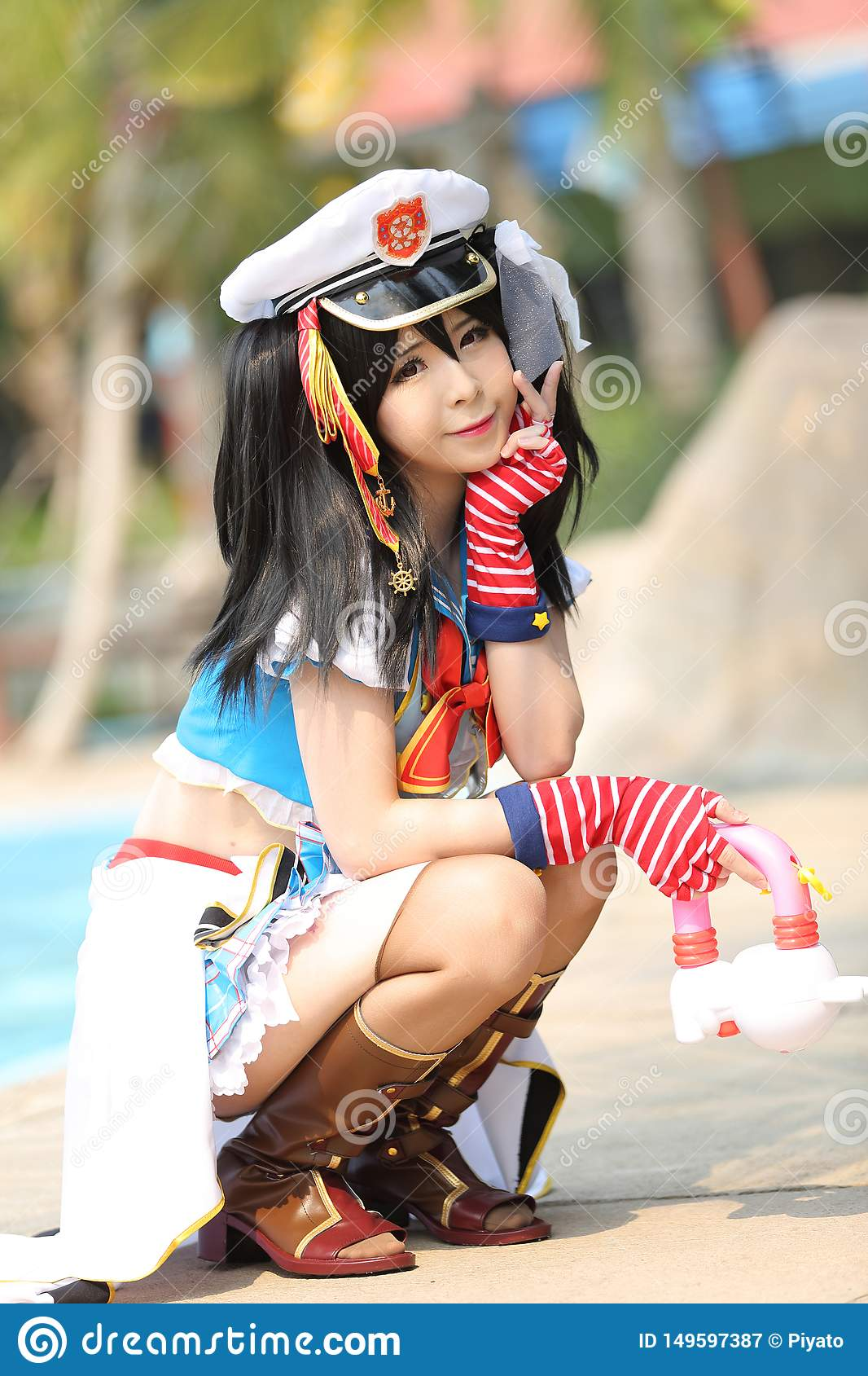 Portrait Of Japan Anime Cosplay Girl At Waterpark Stock ...