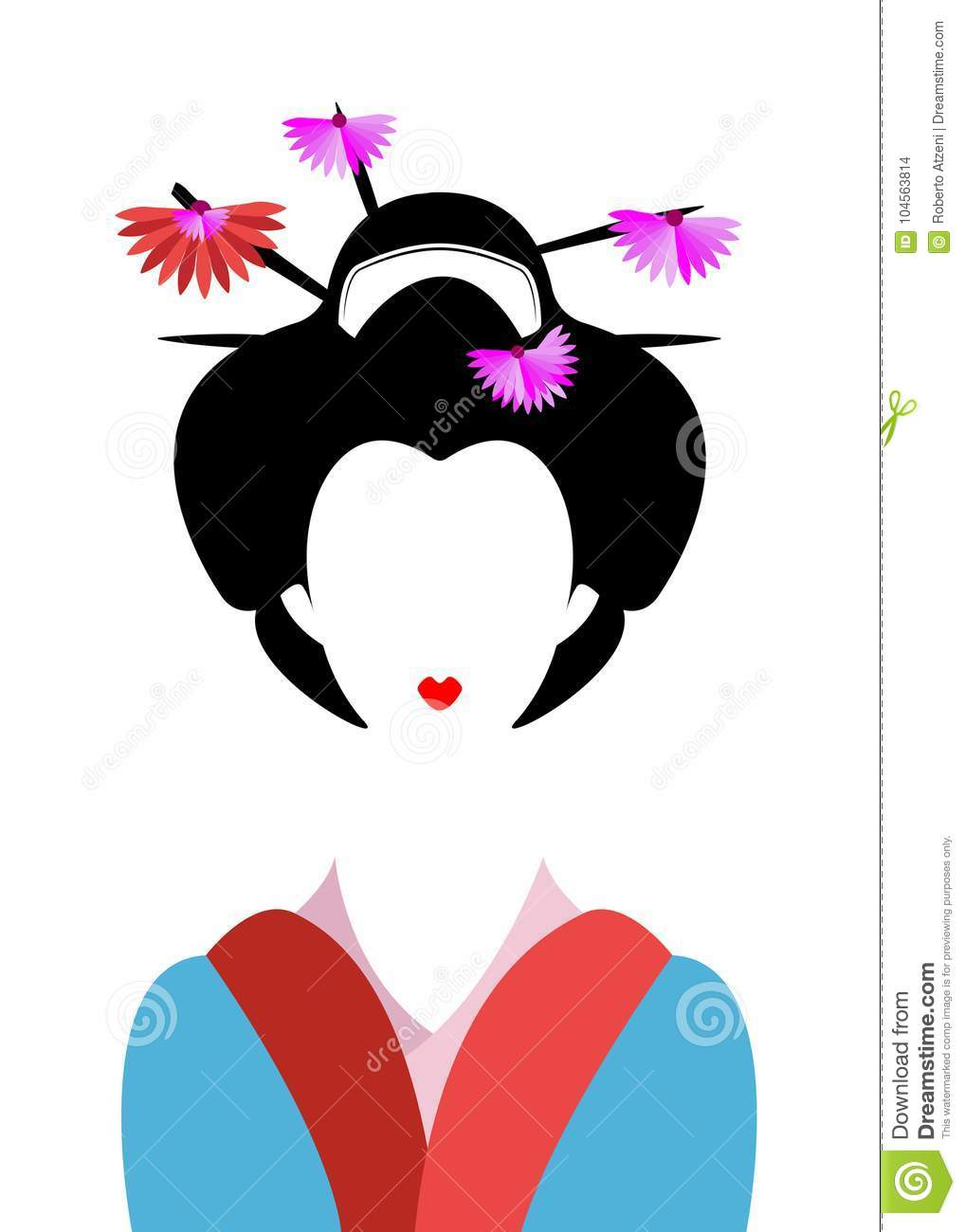 Asian girl illustration charming message