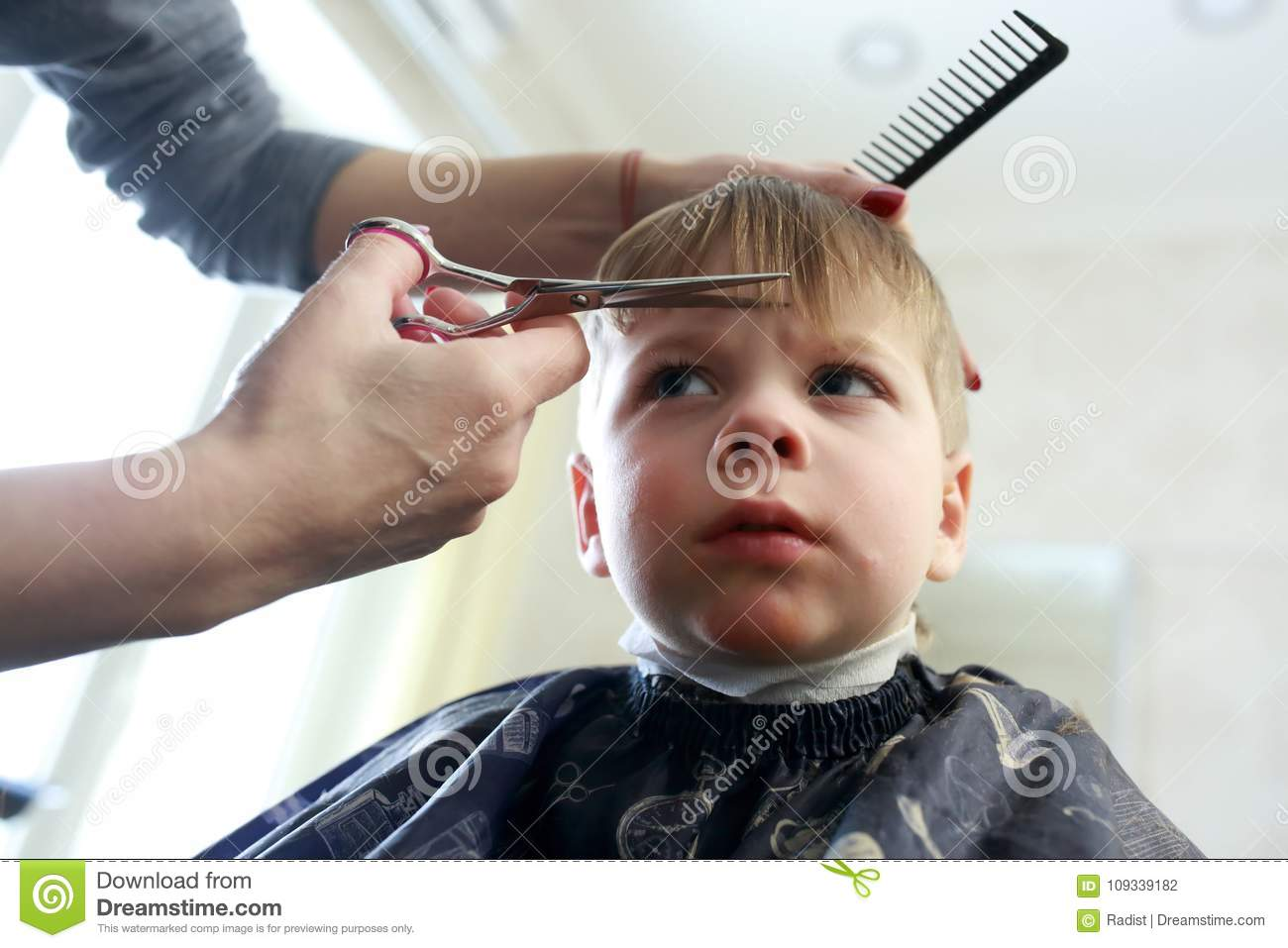 Kid Getting A Haircut Stock Photo Image Of Caucasian 109339182