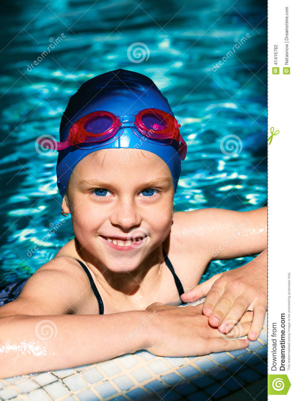 Portrait Of A Kid Laughing In A Swimming Pool Stock Photo Image 41416782