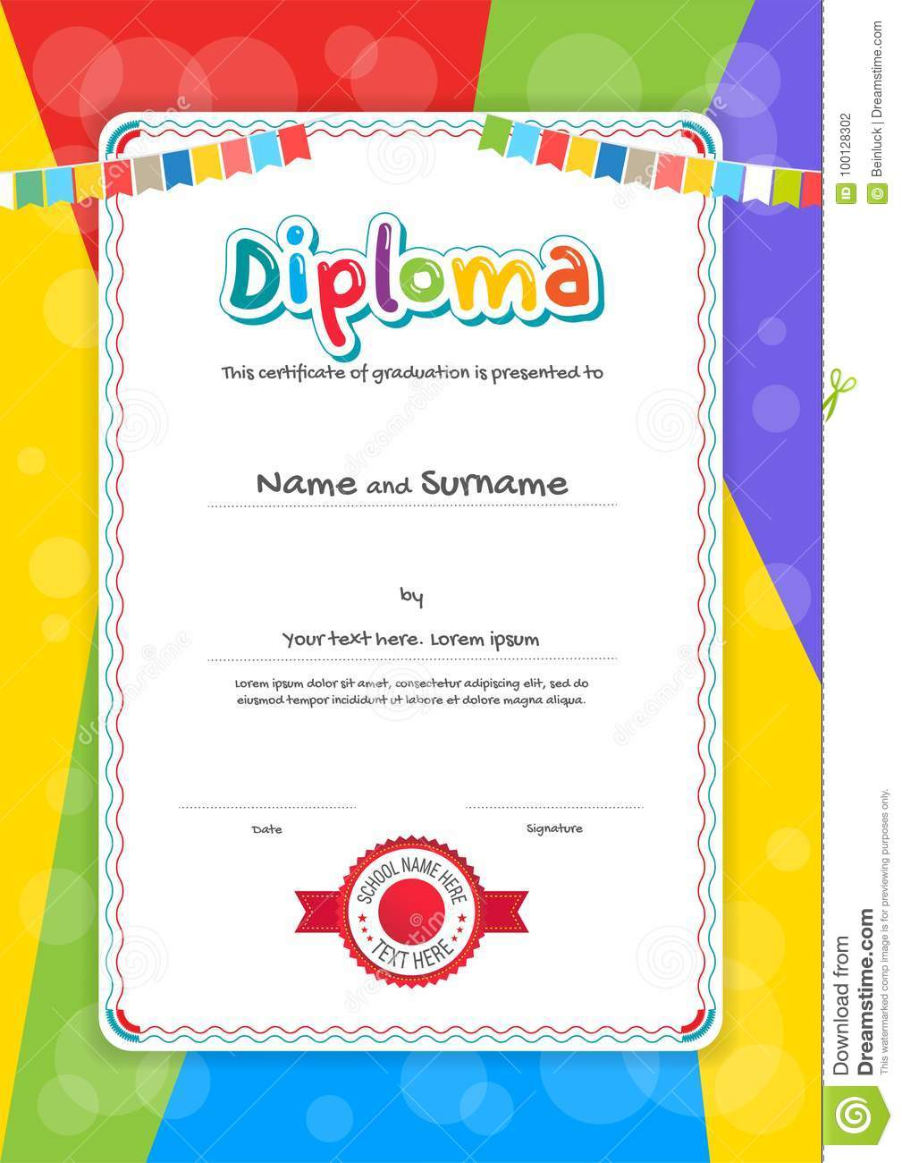 Portrait Kids Diploma Or Certificate Template With Colorful Back
