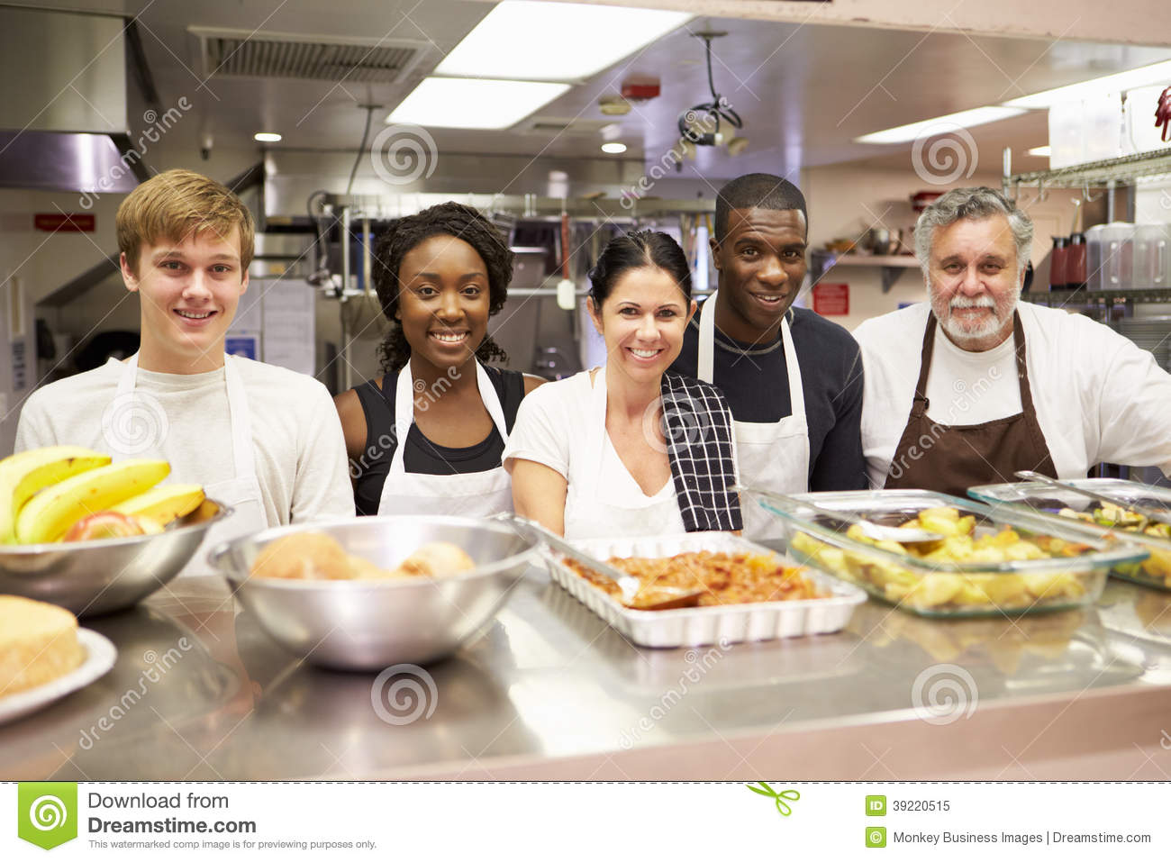 Portrait Of Kitchen Staff In Homeless Shelter Stock Photo - Image ...