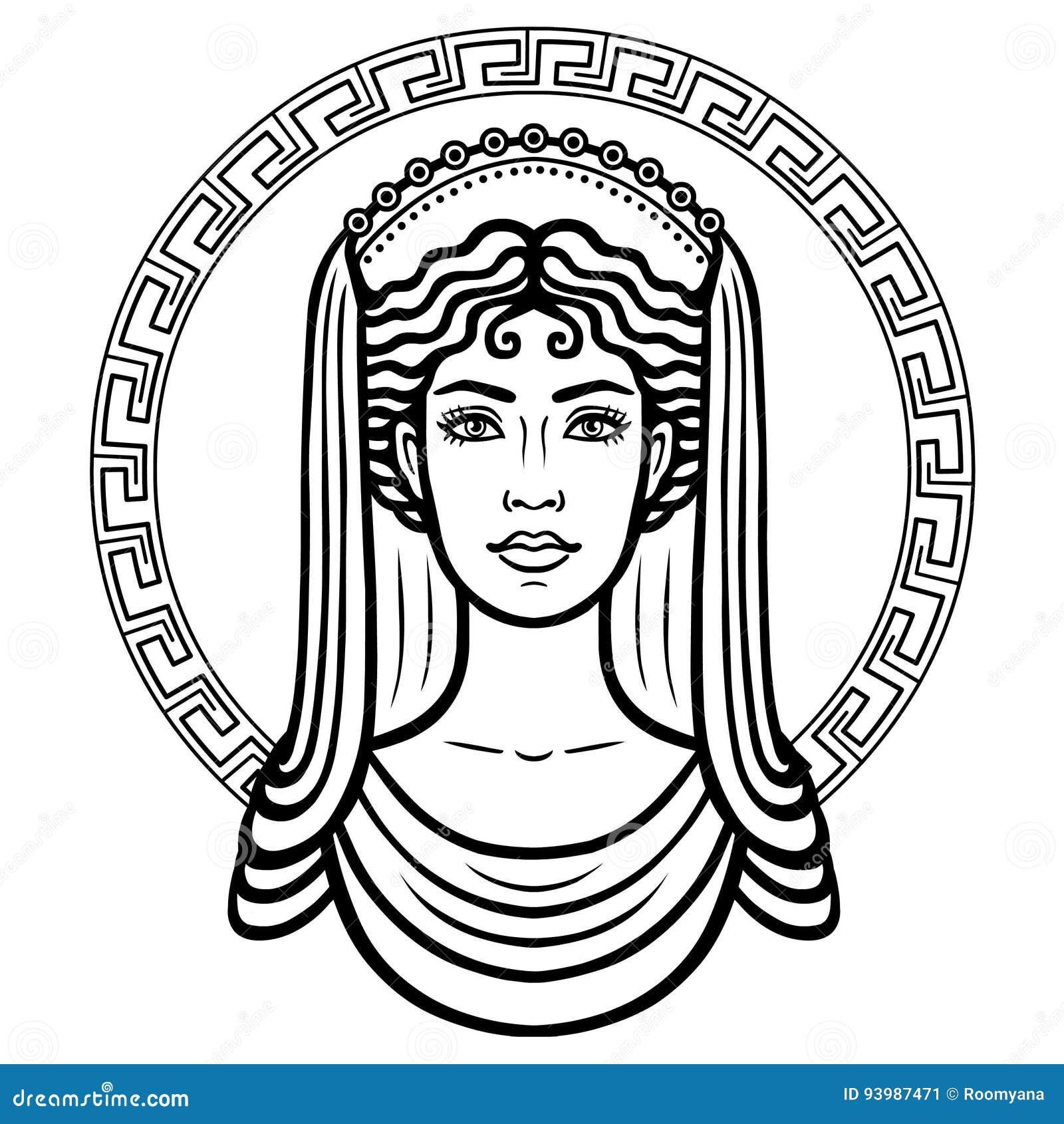 Portrait Lineaire De La Jeune Femme Grecque Avec Une Coiffure