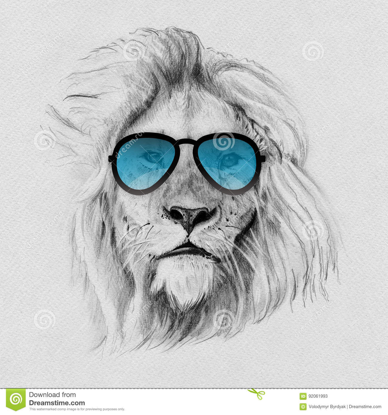 b3193be3601 Portrait of lion drawn by hand in pencil in sunglasses. Originals