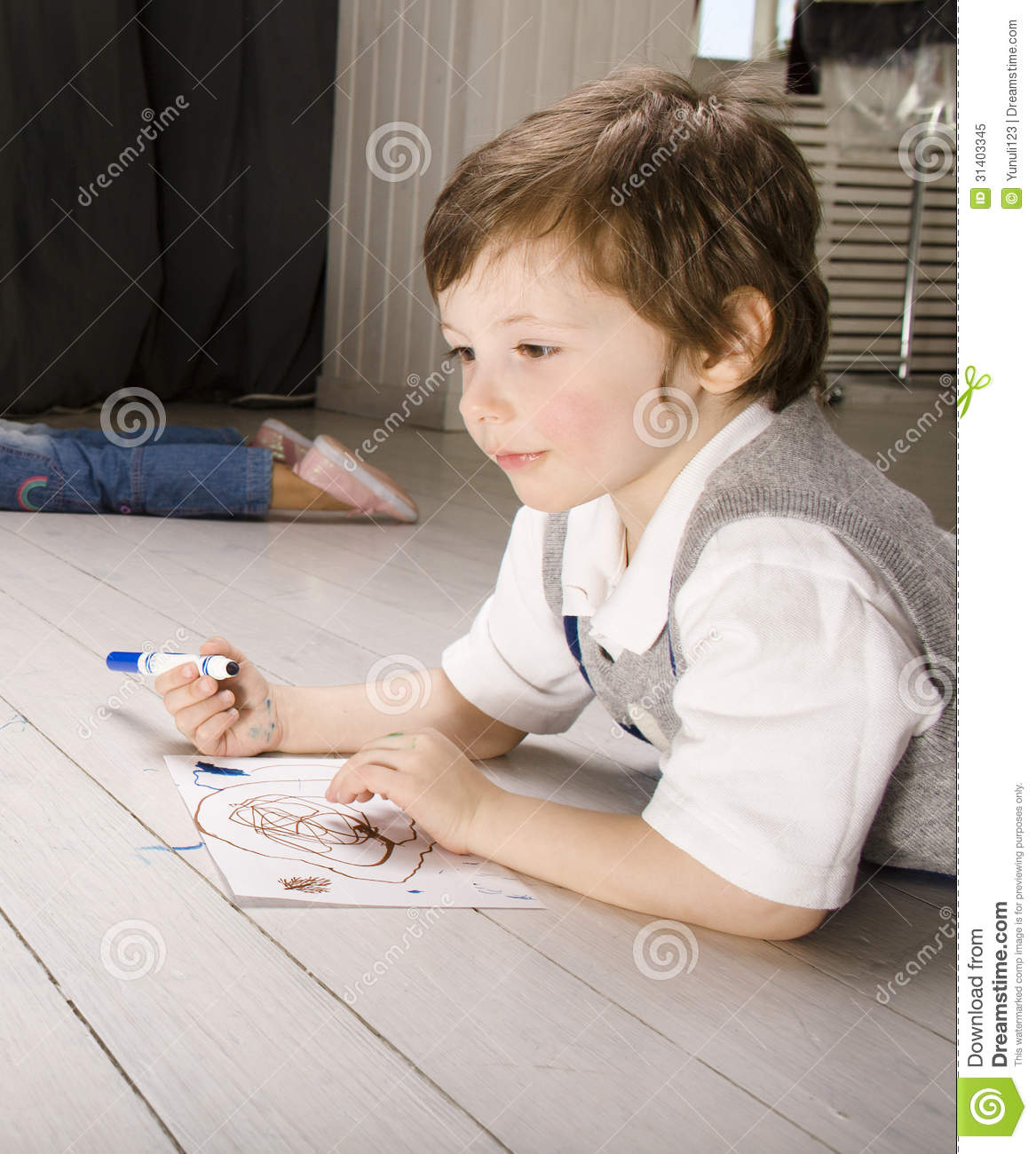 Small chubby boys in painting