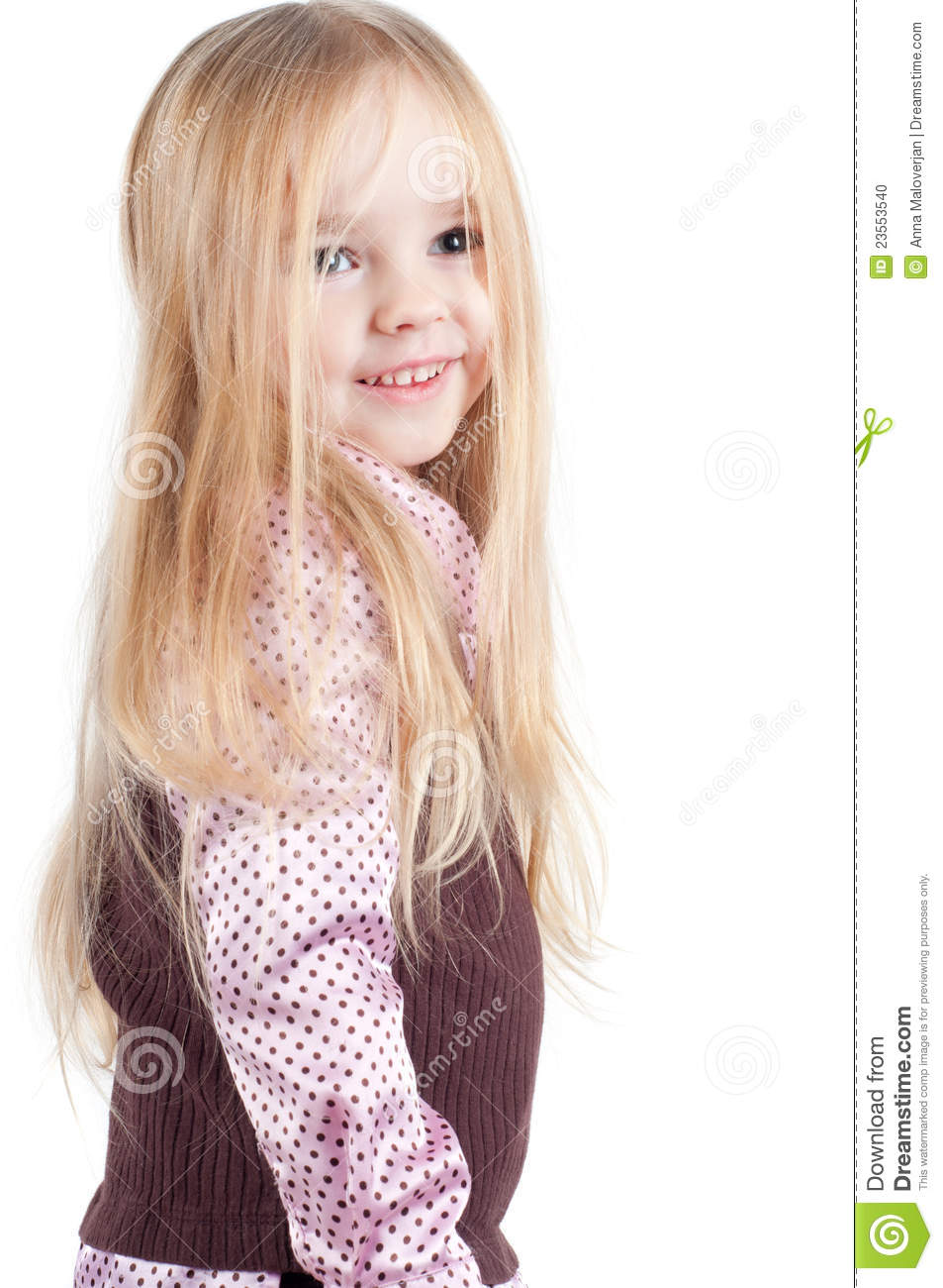 portrait of little cute girl with long hair royalty free stock photo 19097373. Black Bedroom Furniture Sets. Home Design Ideas