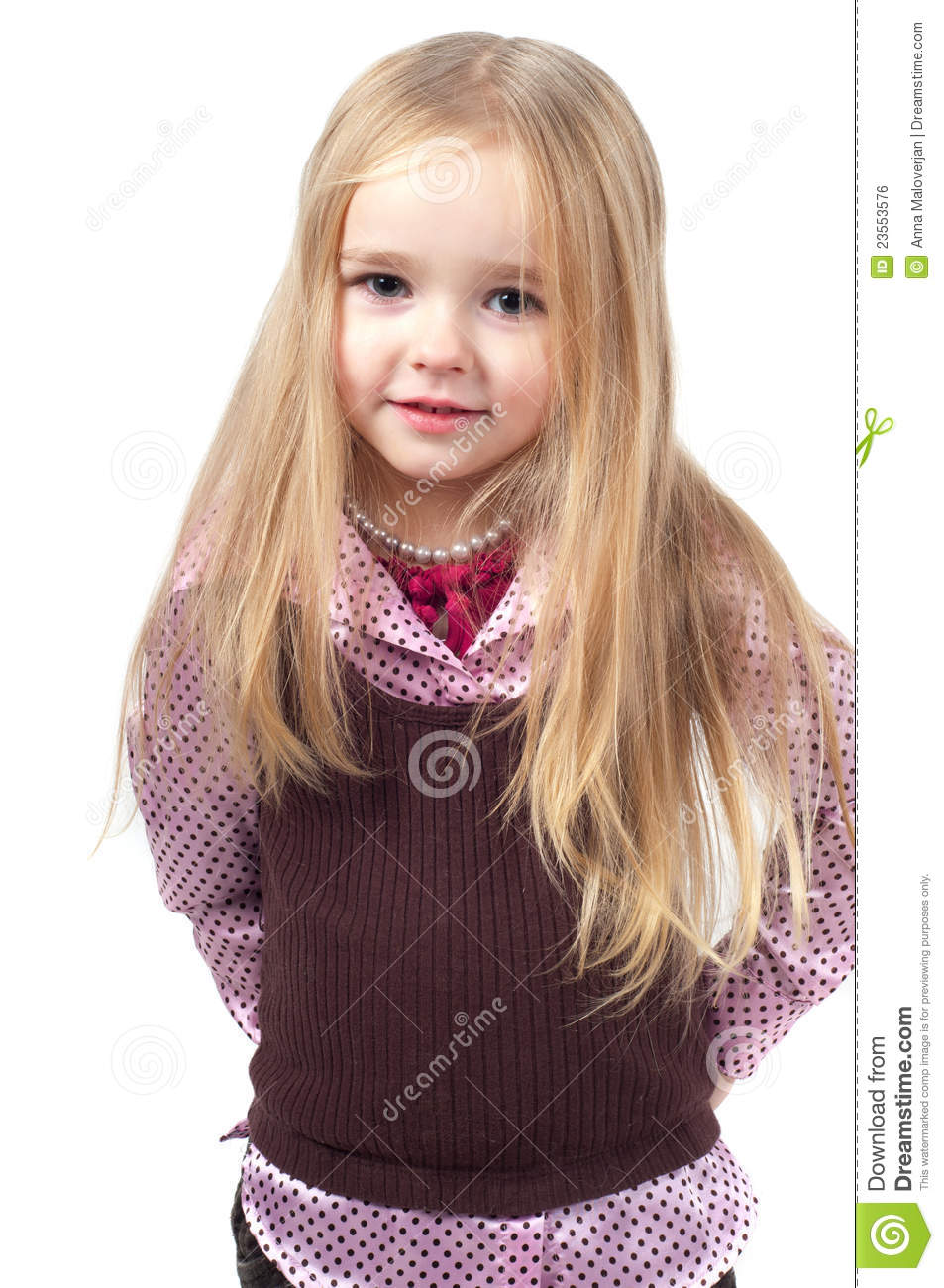 Portrait Of Little Cute Girl With Long Hair Stock Photo - Image of