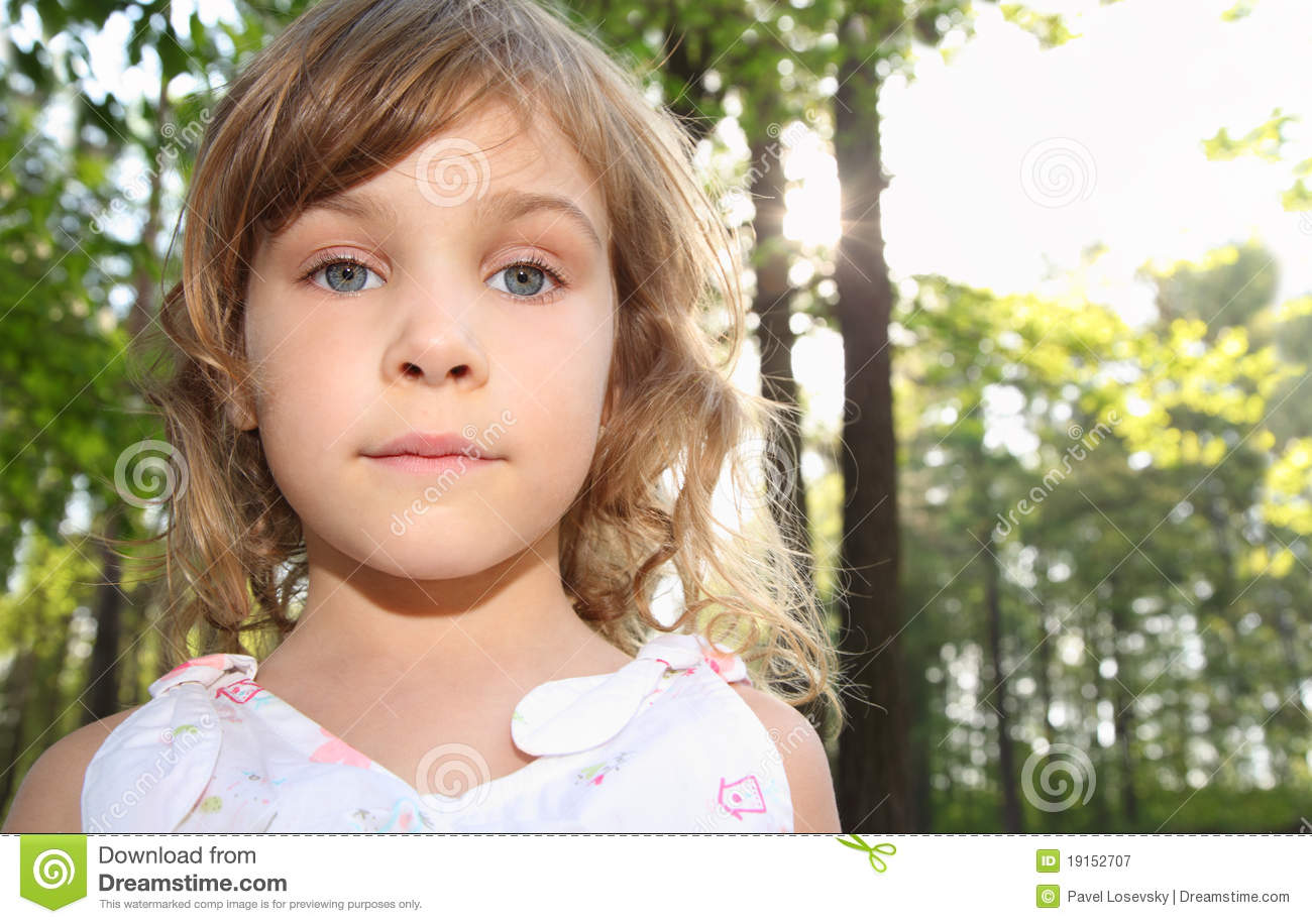 39868a16fe Portrait Of Little Girl With Blonde Hair Stock Image - Image of ...