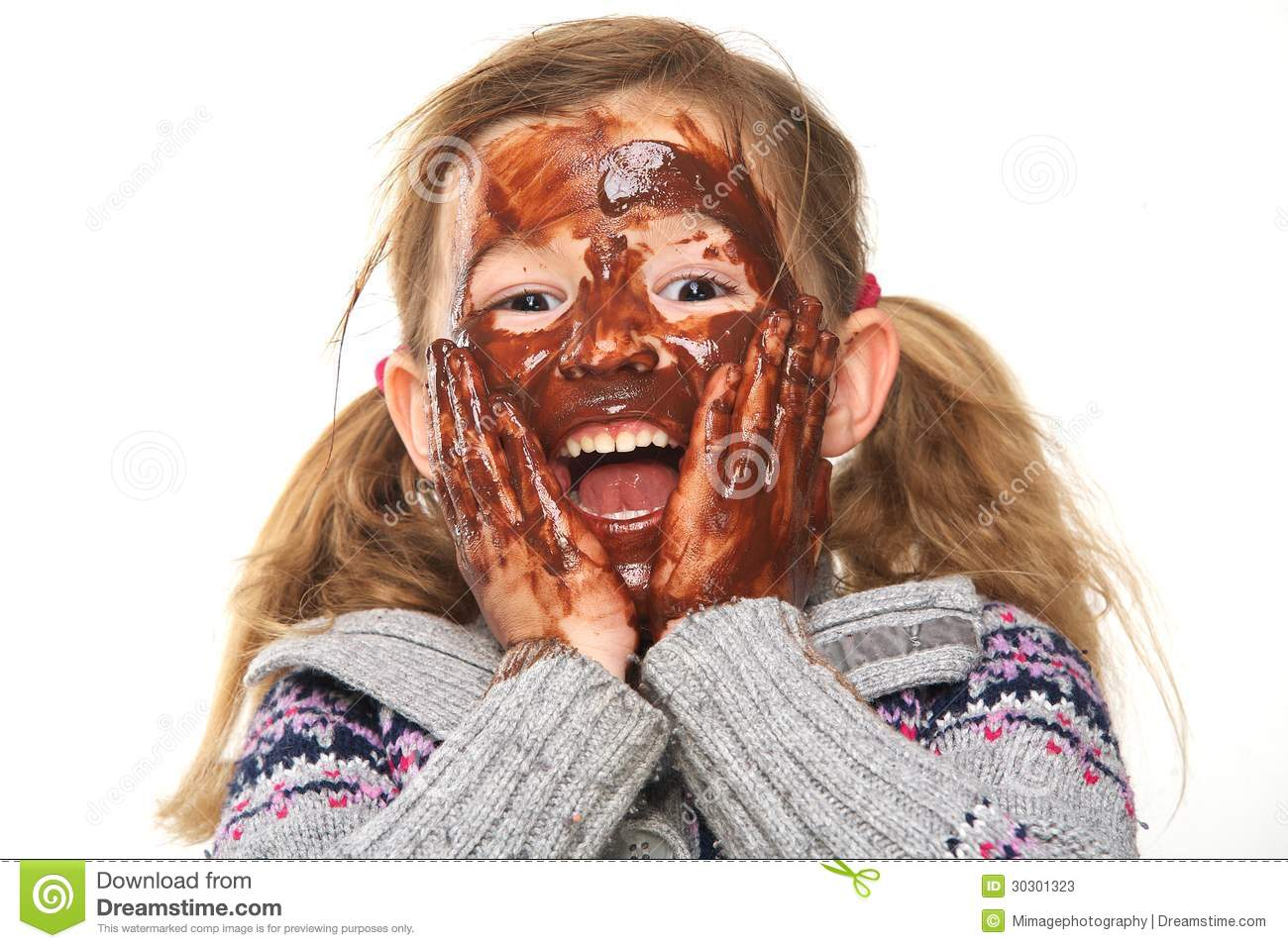 Little Girl With Chocolate Covered Face Stock Photos - Image: 30301323