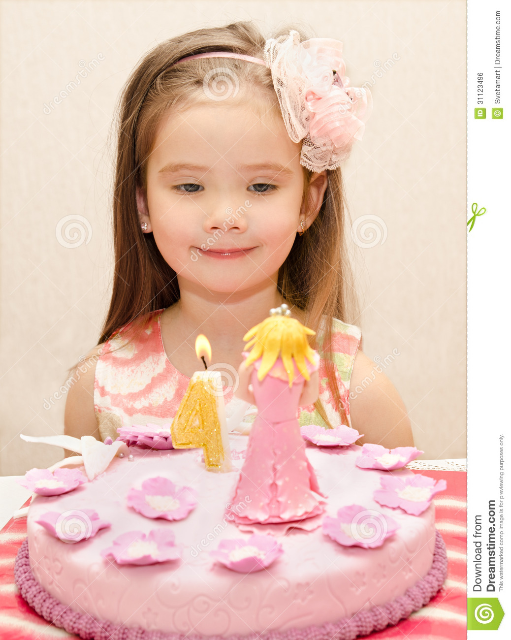 Portrait Of Little Girl And Her Birthday Cake Royalty Free Stock Image ...