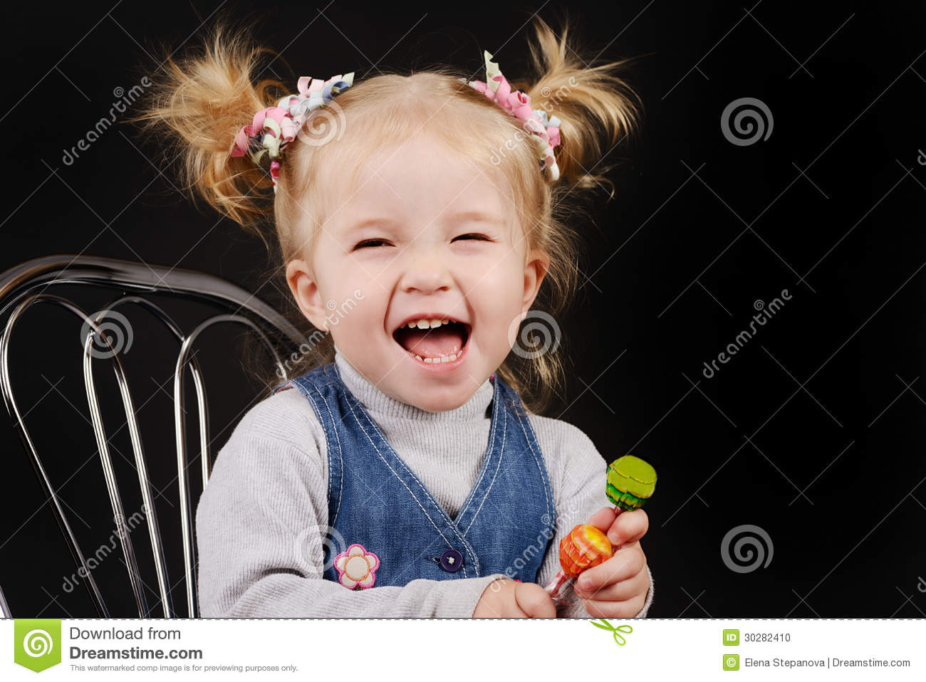 Toddler Girl With Ponytail Hairstyle Stock Photo Image