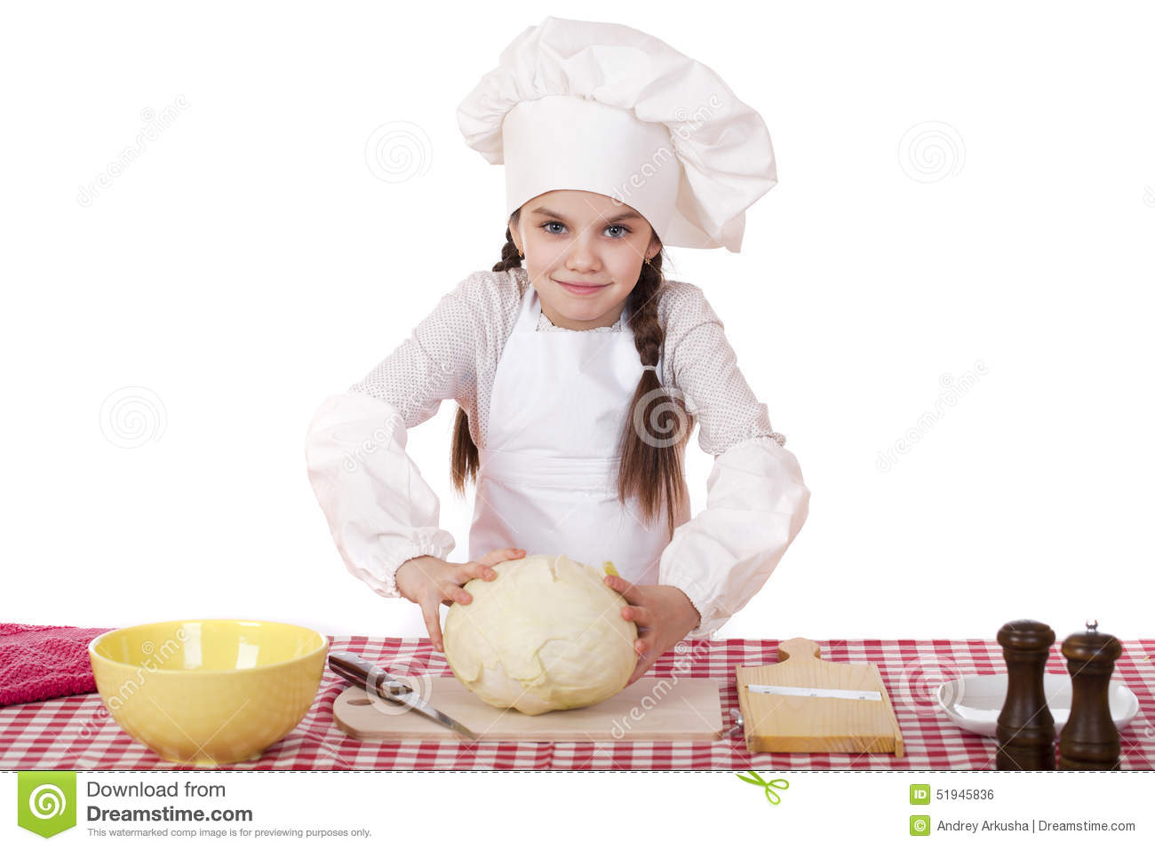 White apron and hat - Portrait Of A Little Girl In A White Apron And Chefs Hat Shred C