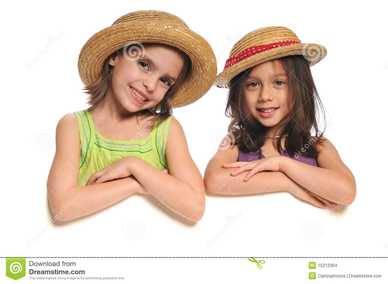 Portrait of little girls holding a sign