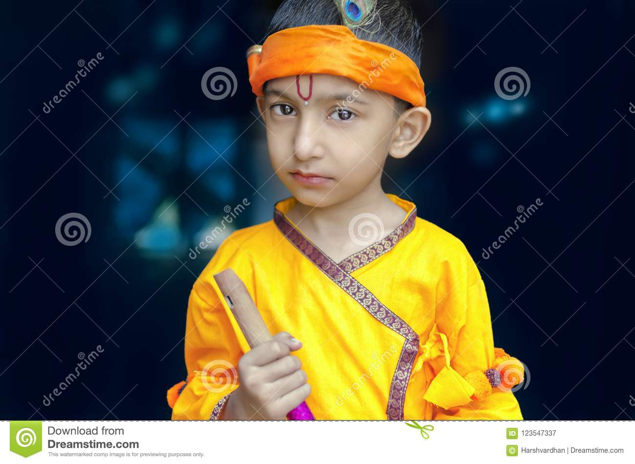 Lord Portrait Of Little Lord Krishna Kanhaiyaindian Asian Cute Child In Traditional Hindu God Krishna Outfit Holding Fluet In Hand Looking At Camera Quora Portrait Of Little Lord Krishna Kanhaiya Boy Child Stock Image