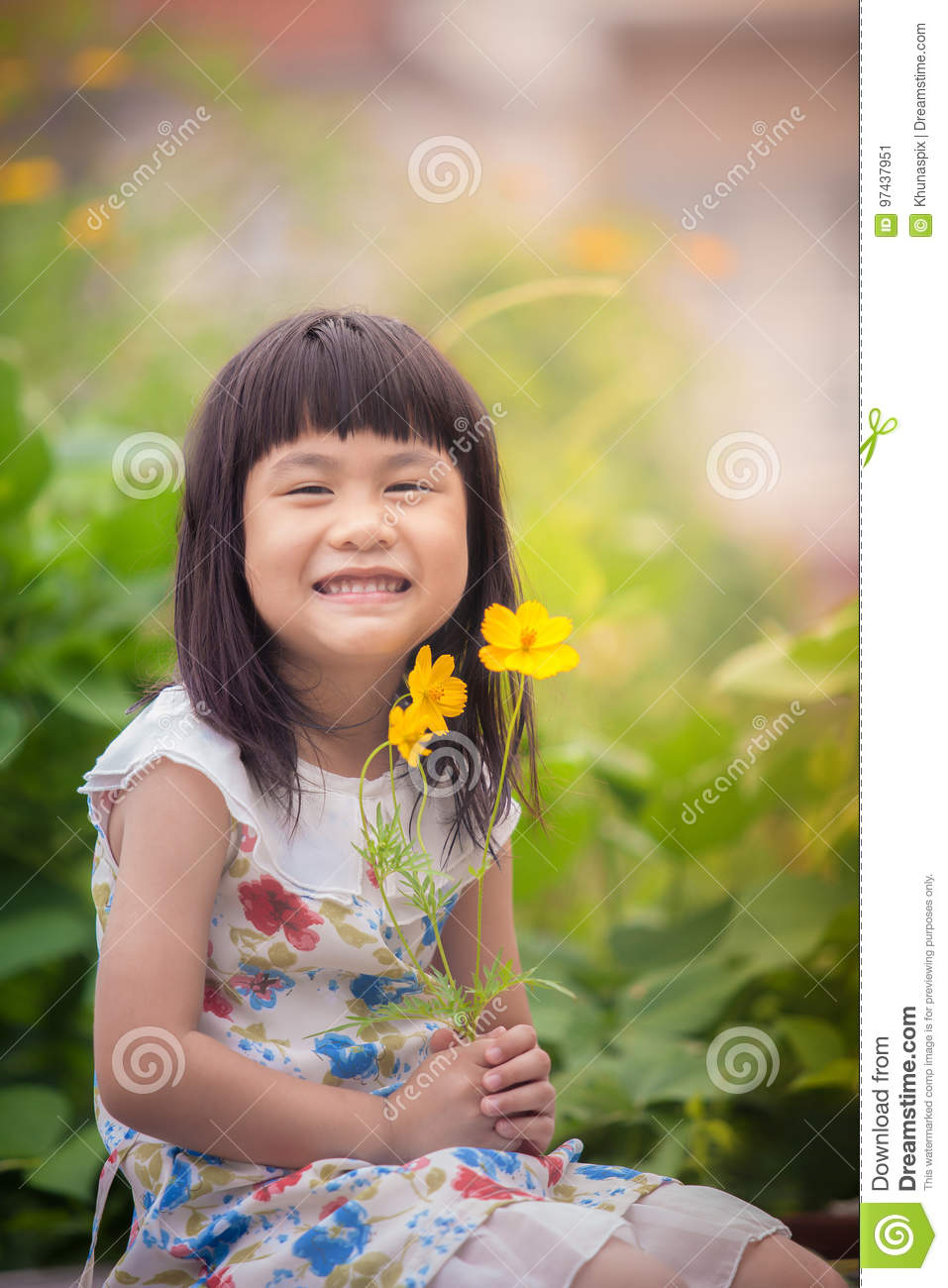 Portrait of lovely girl with yellow cosmos flower bouquet in han royalty free stock photo izmirmasajfo