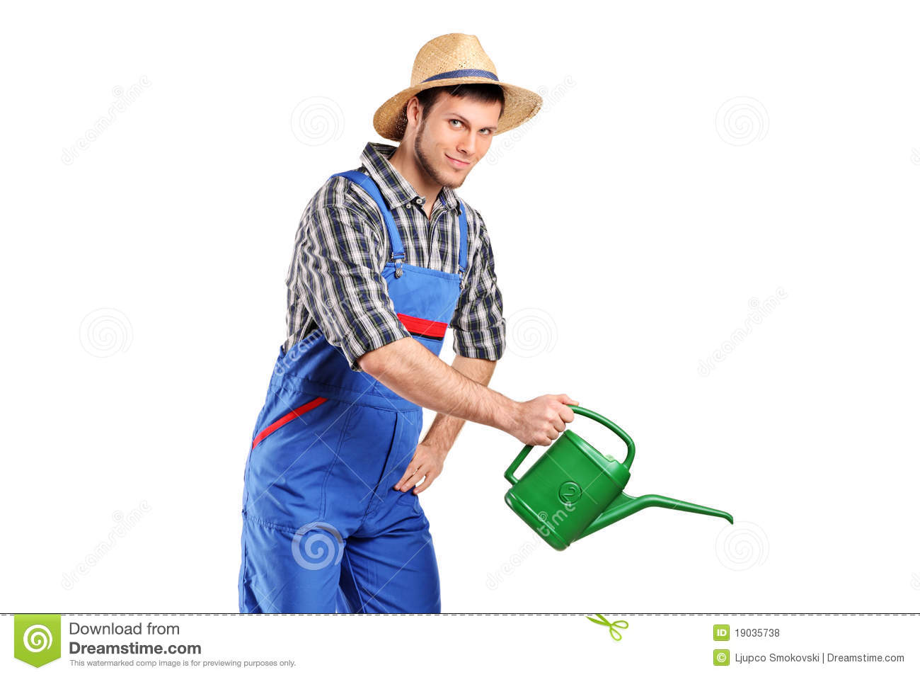 Portrait Of A Male Gardener With Watering Can Royalty Free