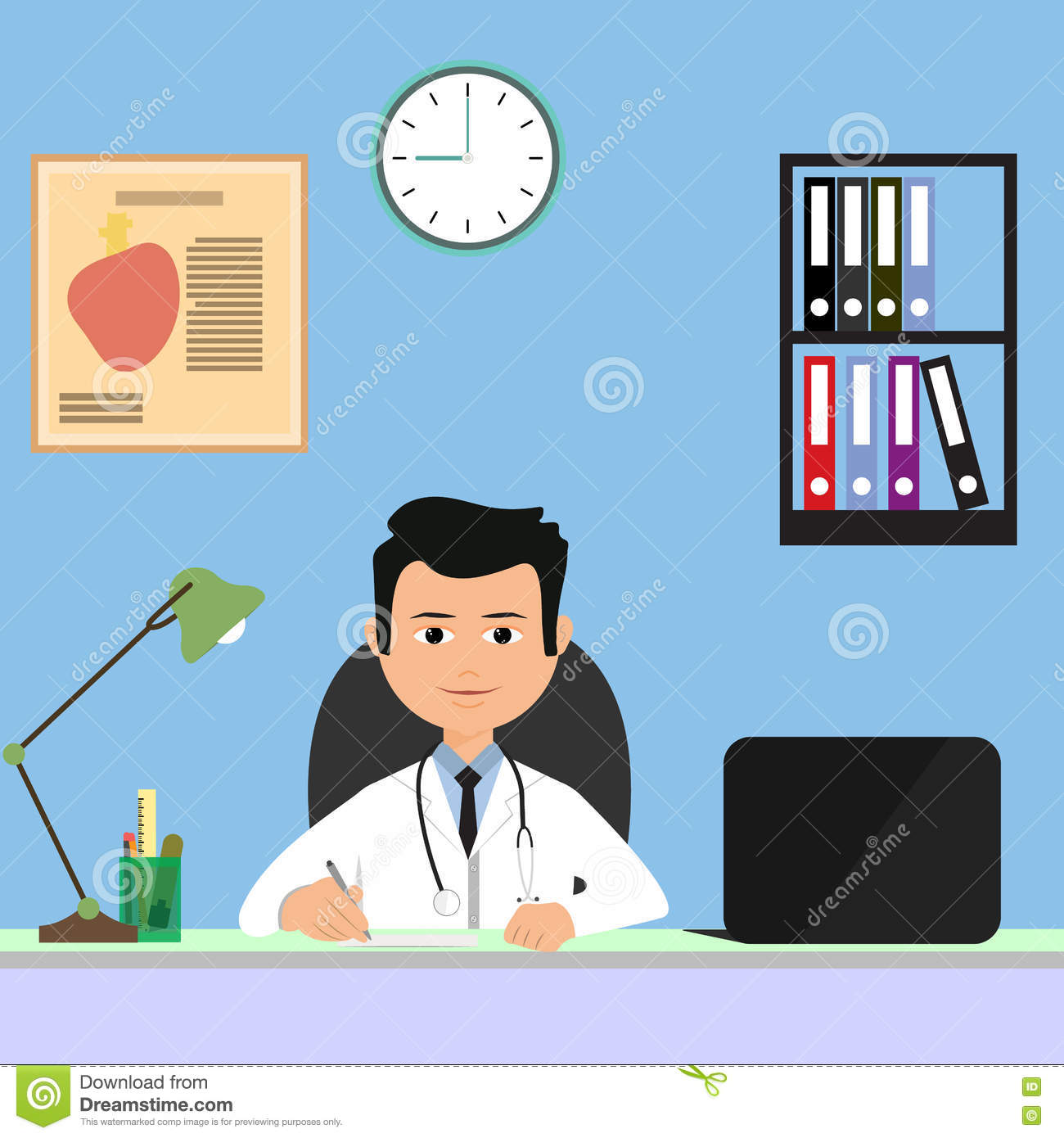 People Working At Office In Flat Vector Illustration