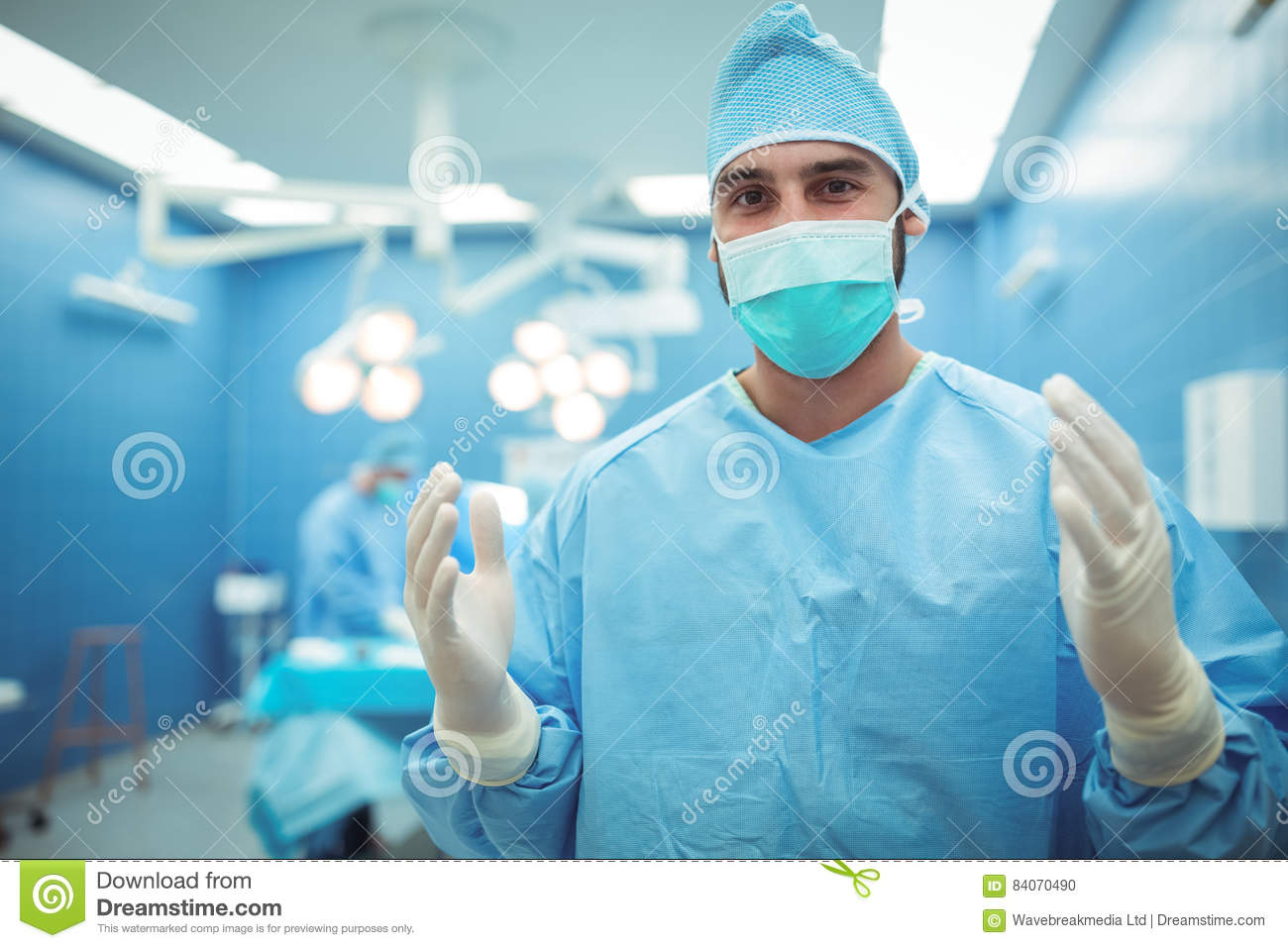 Surgeon Male Wearing Of Portrait Operation Surgical In Mask