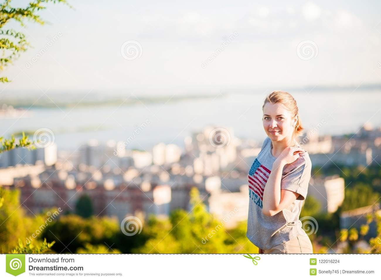 Portrait Of A Man In The Background Of Saratov Russia View Of The
