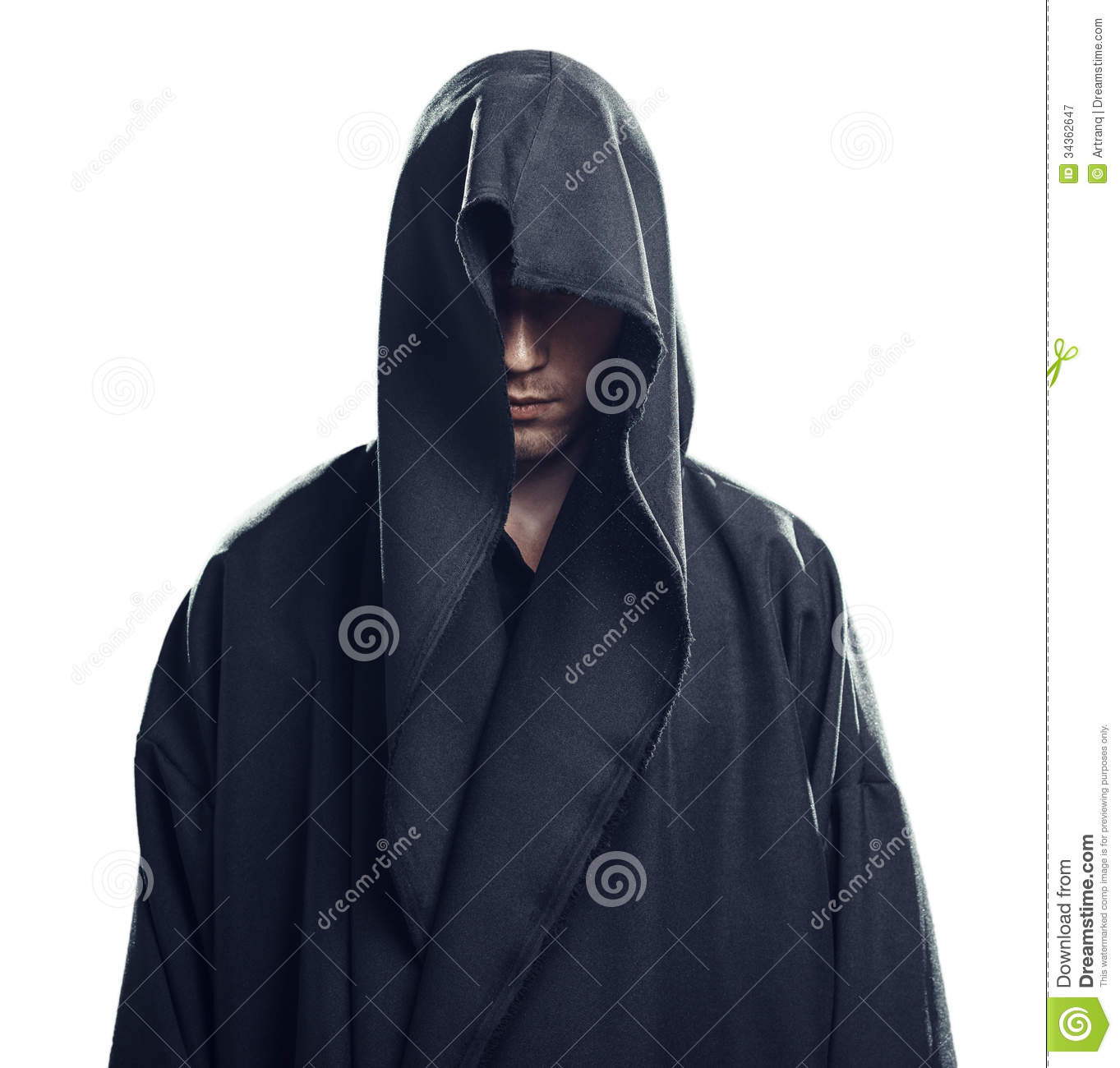 Portrait Of Man In A Black Robe Royalty Free Stock Photography - Image ...