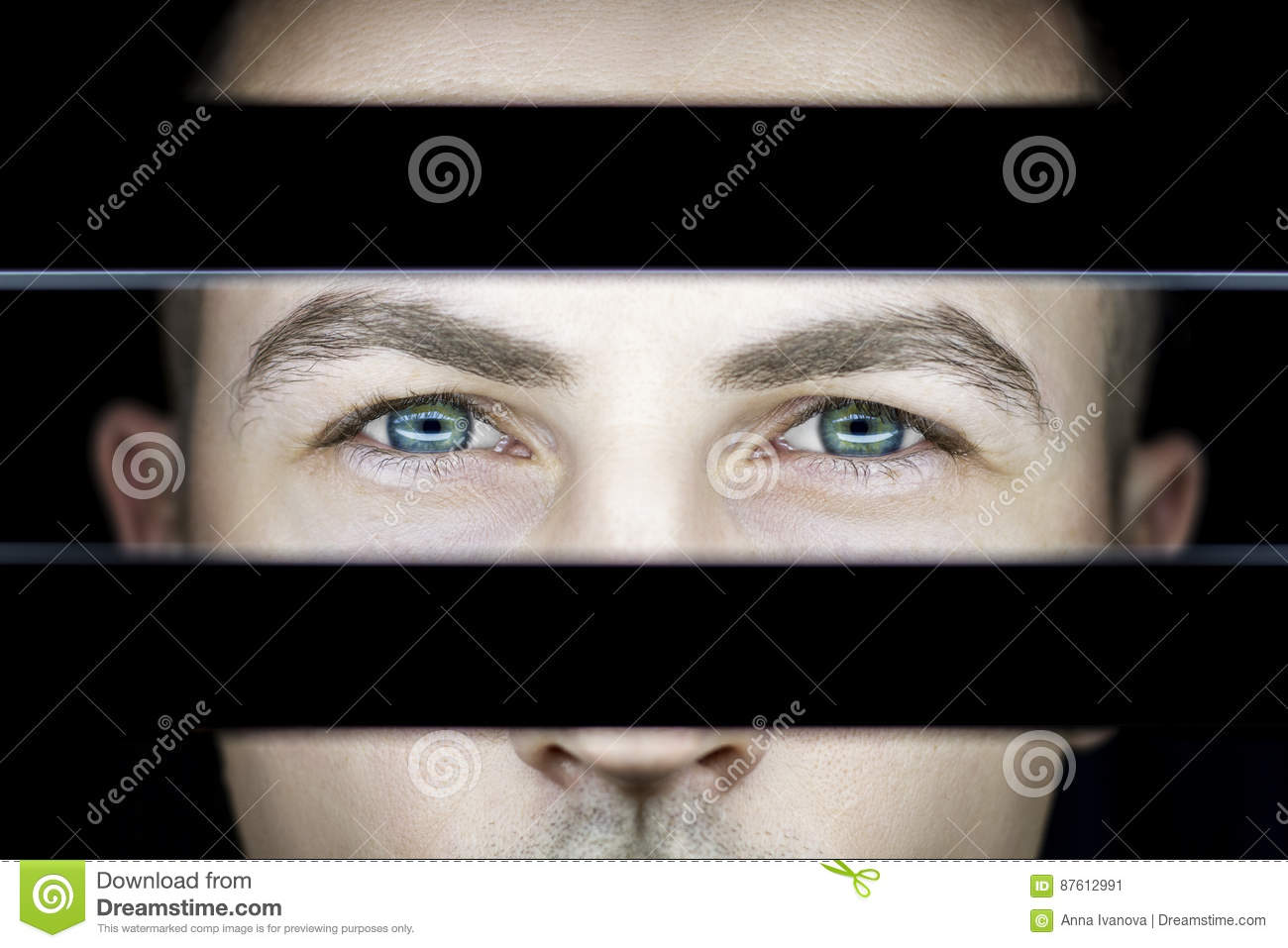 Download Portrait Of A Man In Dark In Light Of Lamps. Atmospheric Art Photo Of A Guy With Green Eyes. The Man`s Face On The Other Side Stock Image - Image of contrast, black: 87612991