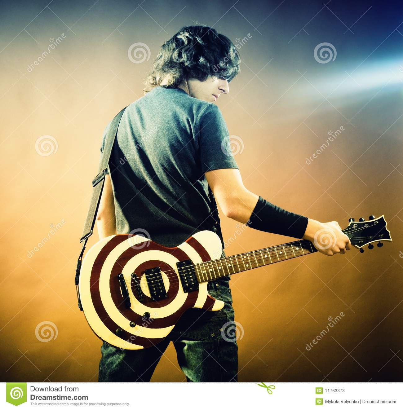 portrait of man with guitar stock image image 11763373