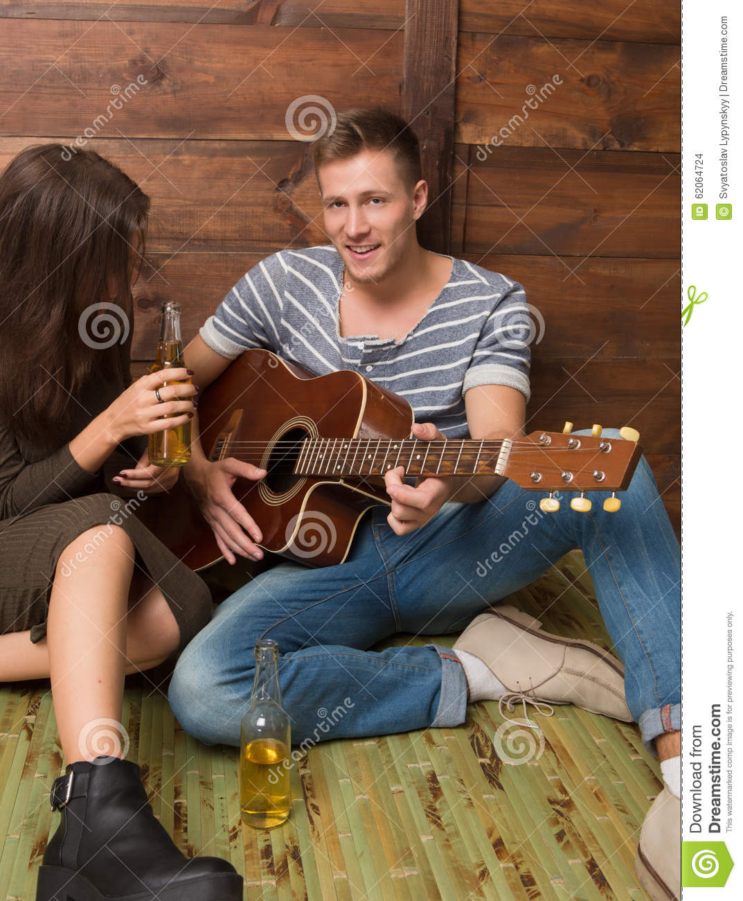 Portrait Of Man And Lady Singing Songs And Drinking Alcohol Drinks