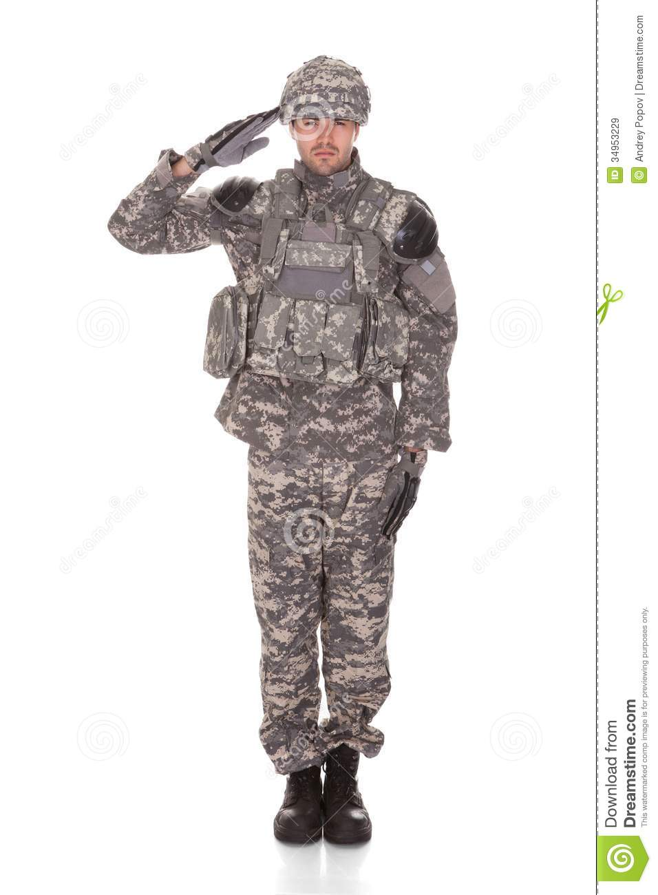 Portrait Of Man In Military Uniform Saluting Royalty Free