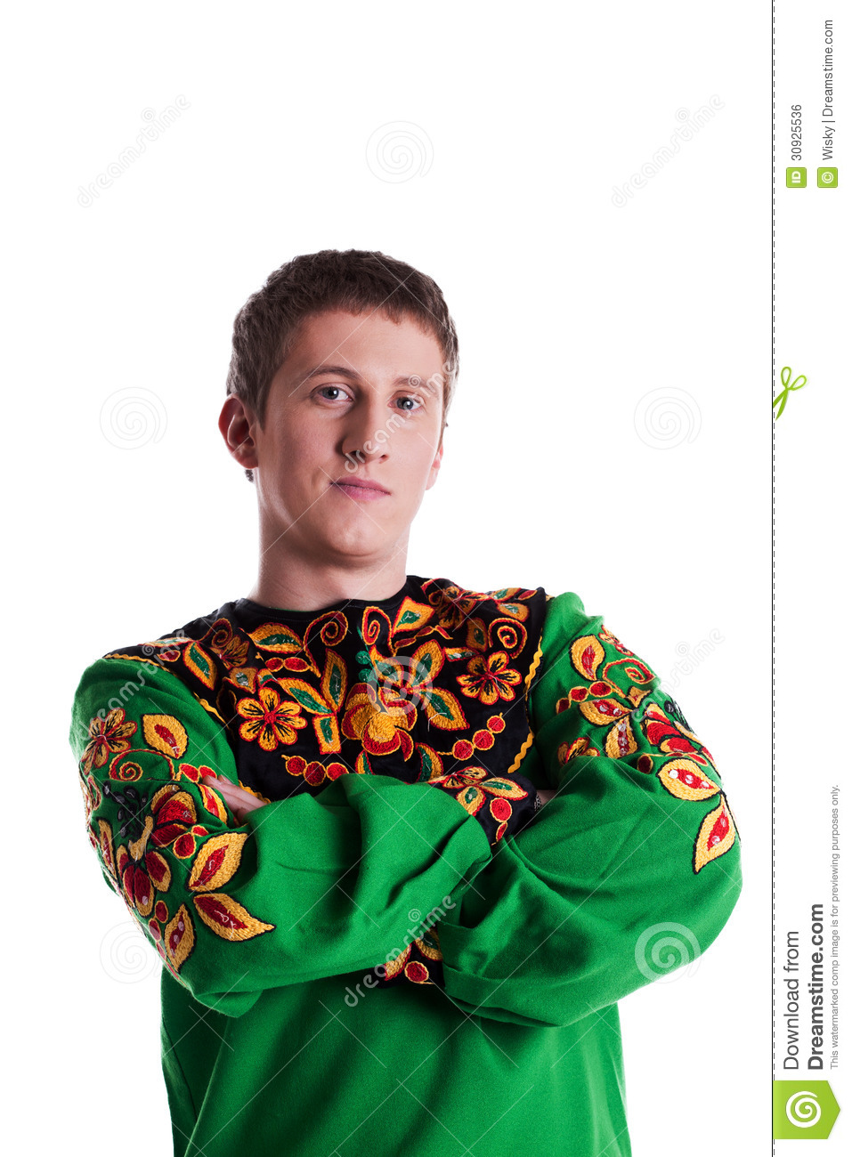 Portrait Of Man In Russian Traditional Costume Stock Photo