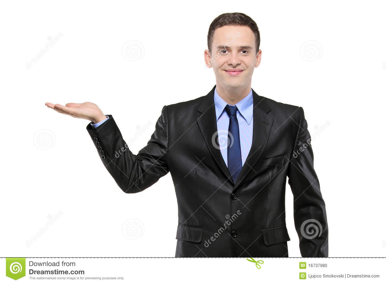 Portrait of a man in a suit with right hand lifted stock photo image