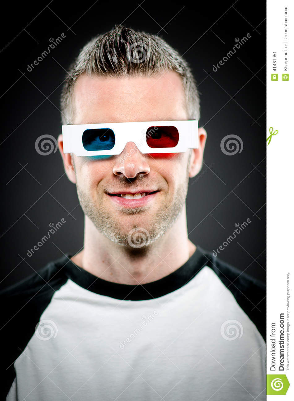 Portrait Of A Man Wearing 3d Glasses Stock Photo - Image ...