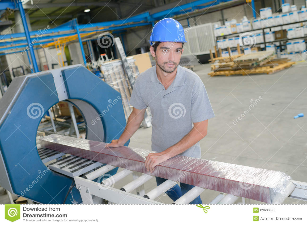 Portrait man working on production line