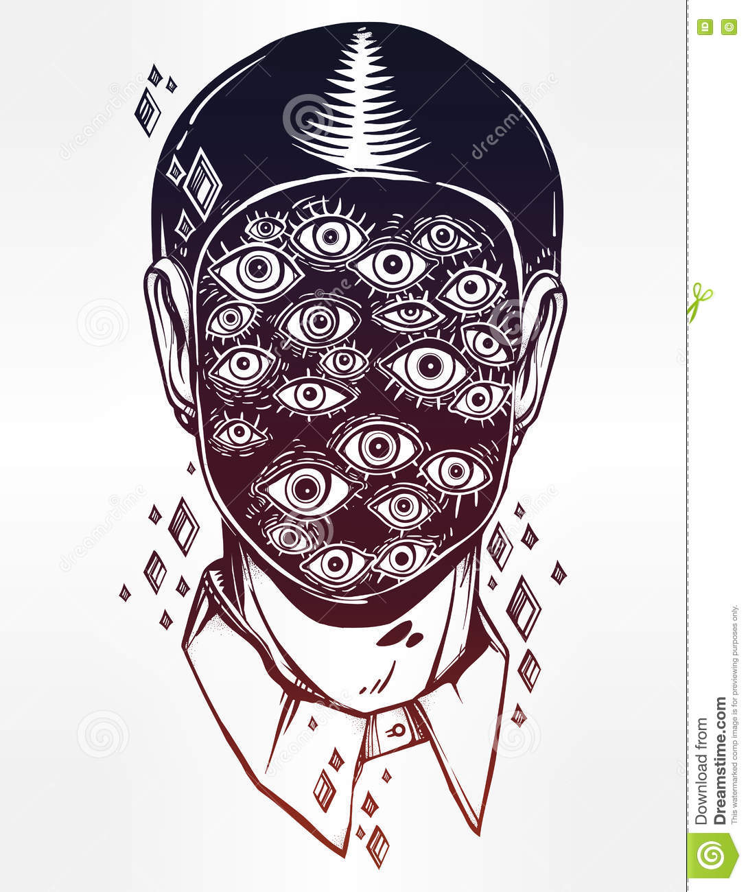 portrait of a many eyed man with surreal face stock vector