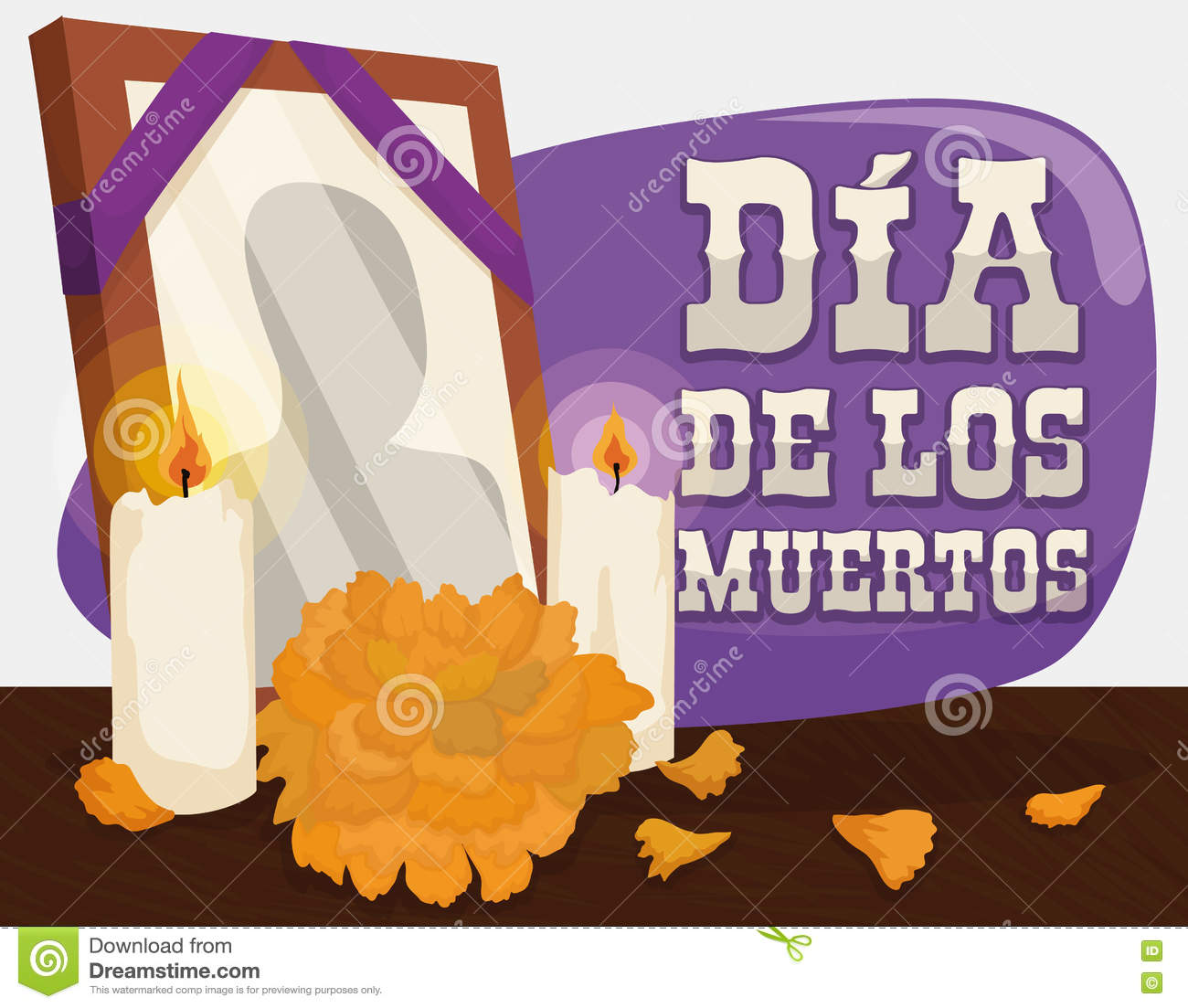Portrait, Marigold and Candles: Traditional Offerings for  Dia de Muertos , Vector Illustration
