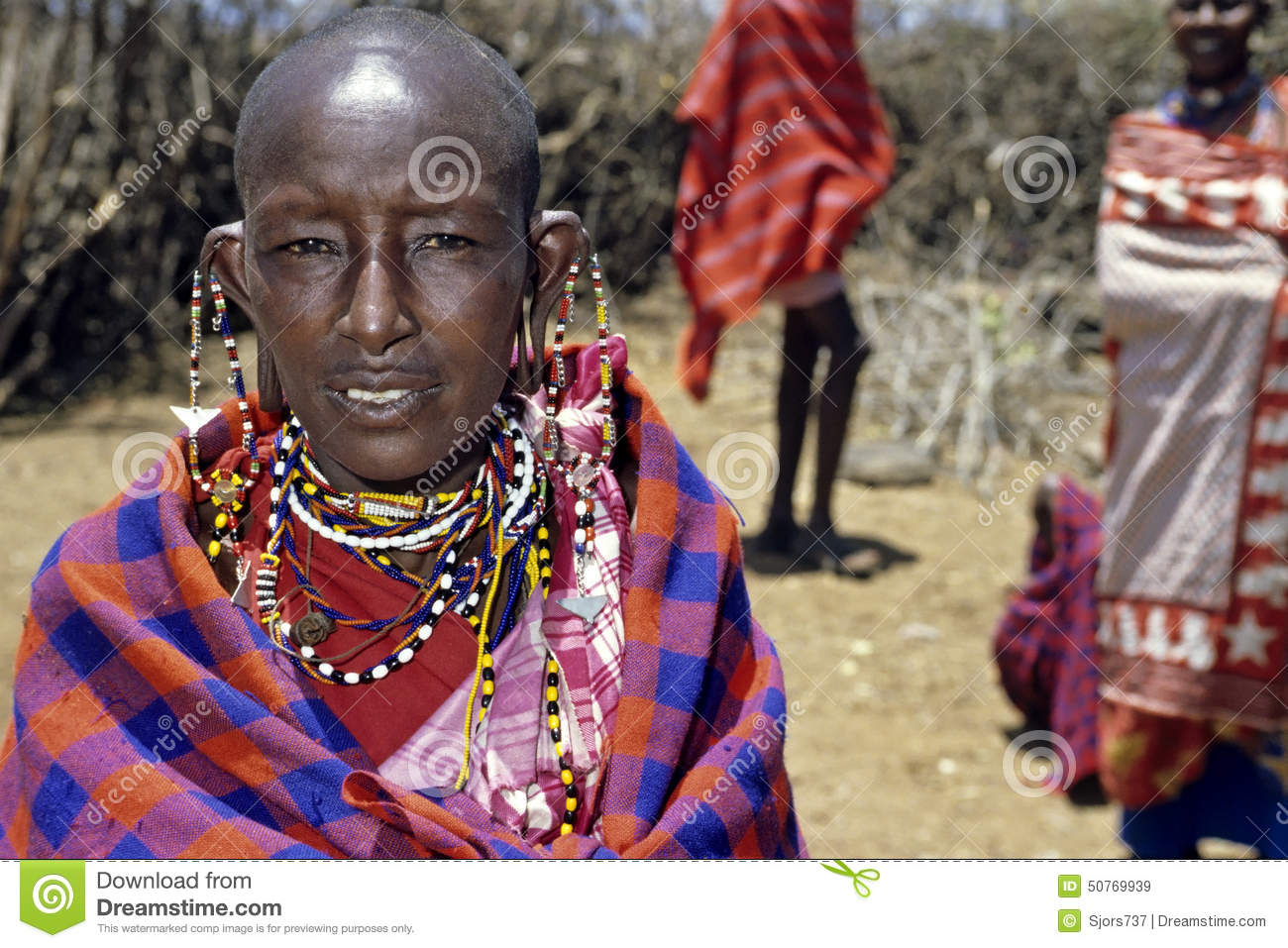 Portrait of Masai woman and colorful beads jewelry