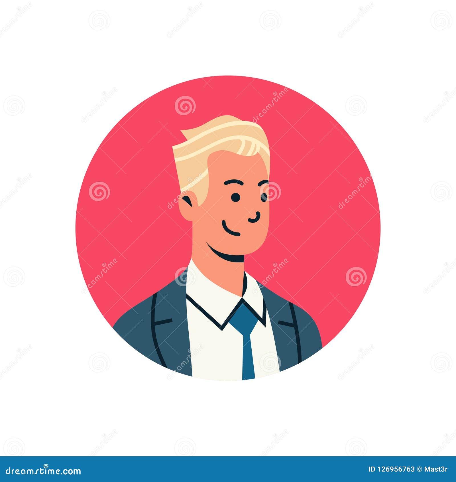 Portrait masculin en ligne de personnage de dessin animé de service de support d homme d affaires d avatar d homme de visage de p